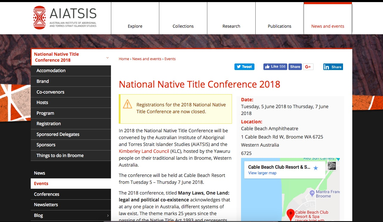 Screenshot: http://aiatsis.gov.au/news-and-events/events/national-native-title-conference-2018
