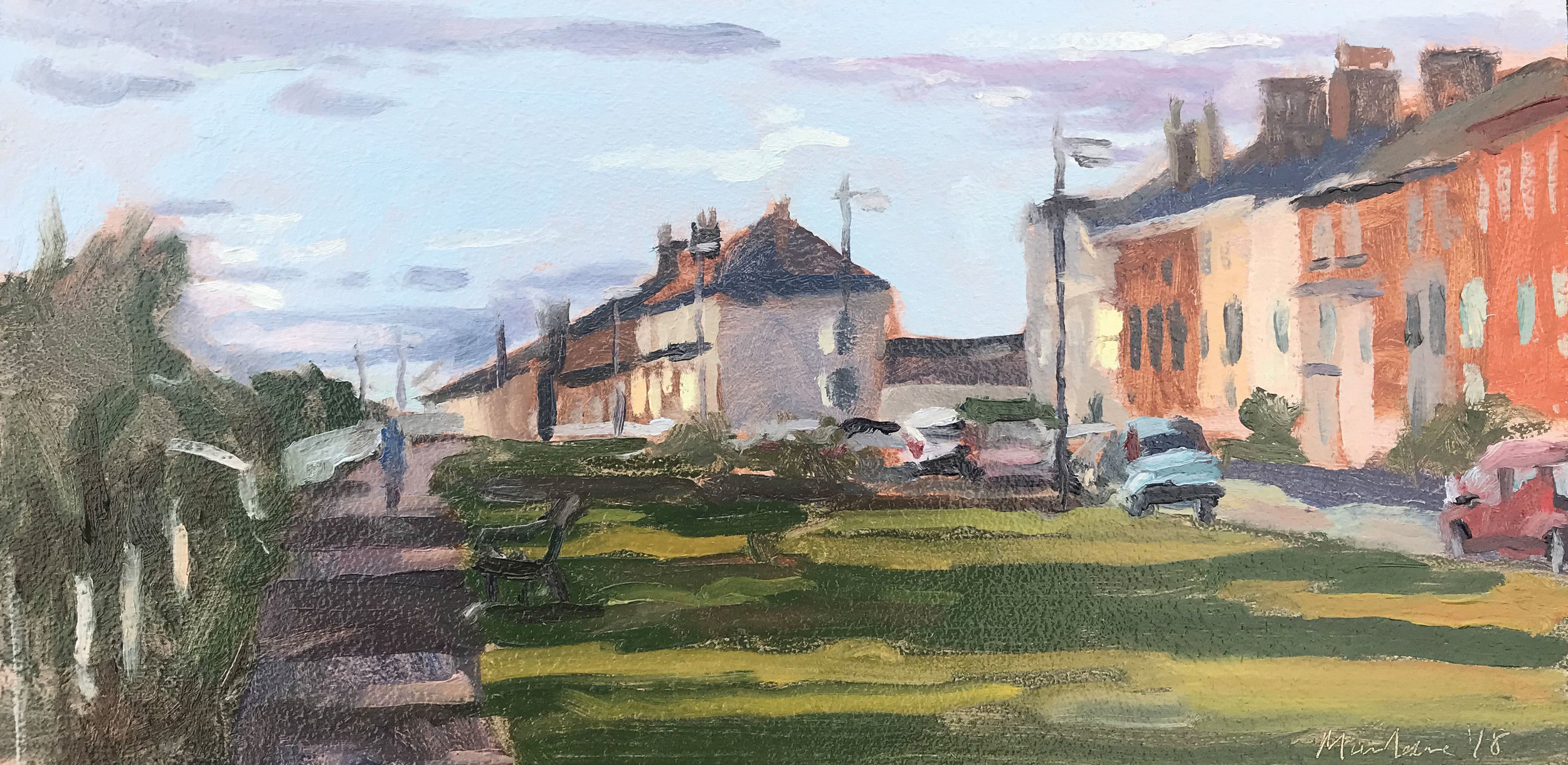 NORTH PARADE SUNRISE   2018 | oil on panel | 30x15cm  £320 (framed by the Frame Library)