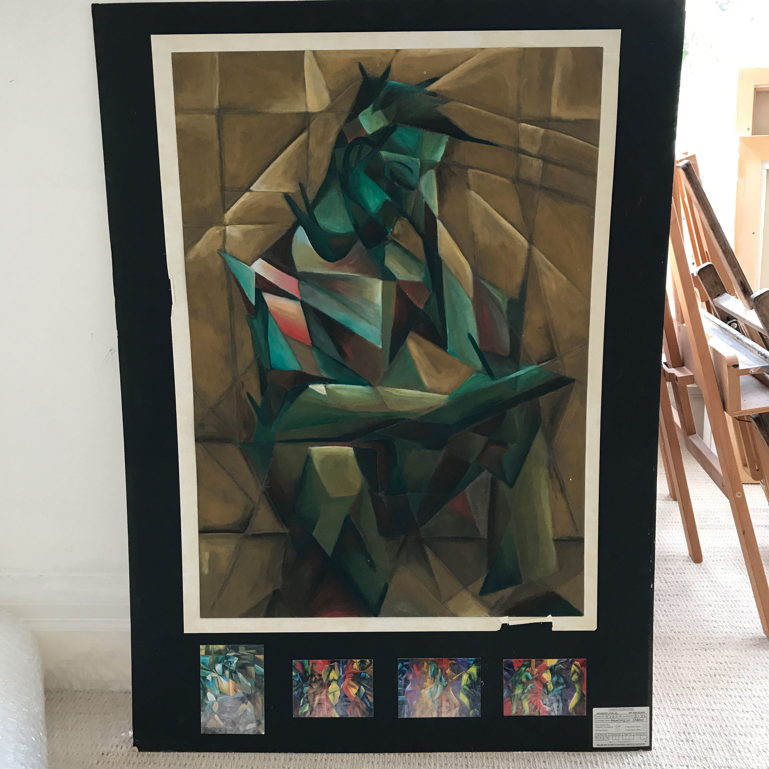 One of my early abstracted and cubist paintings – so early in fact this was part of my A-level coursework!