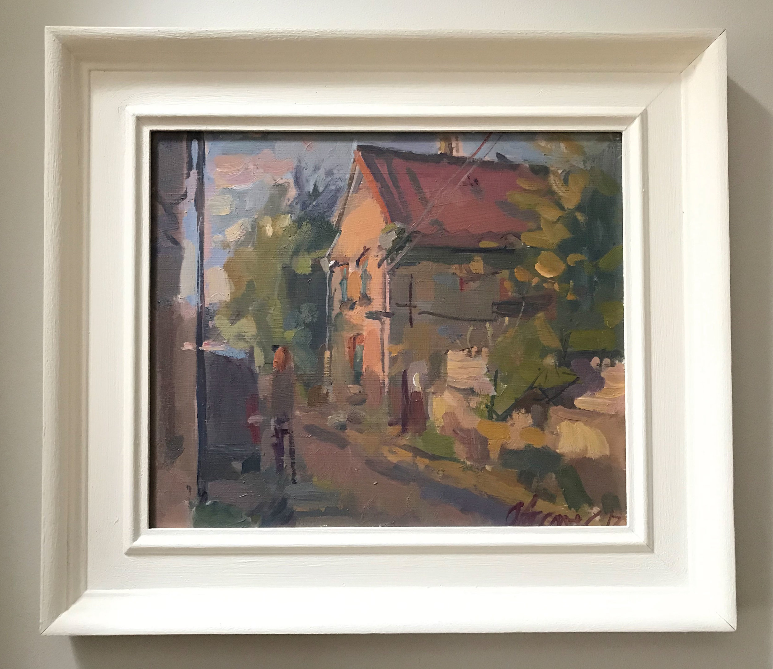 I bought Andrew Farmer's 'The old cottage' in 2017. It has a palette unique to Andrew that is present in all of his work and his signature bold brushwork – it's confident and unctuous. The light he has captured is ethereal. I don't know the location, but it's not important. It's on the wall in my living room and I feel joy and serenity every time I walk past it.   www.andrewfarmerfineart.com