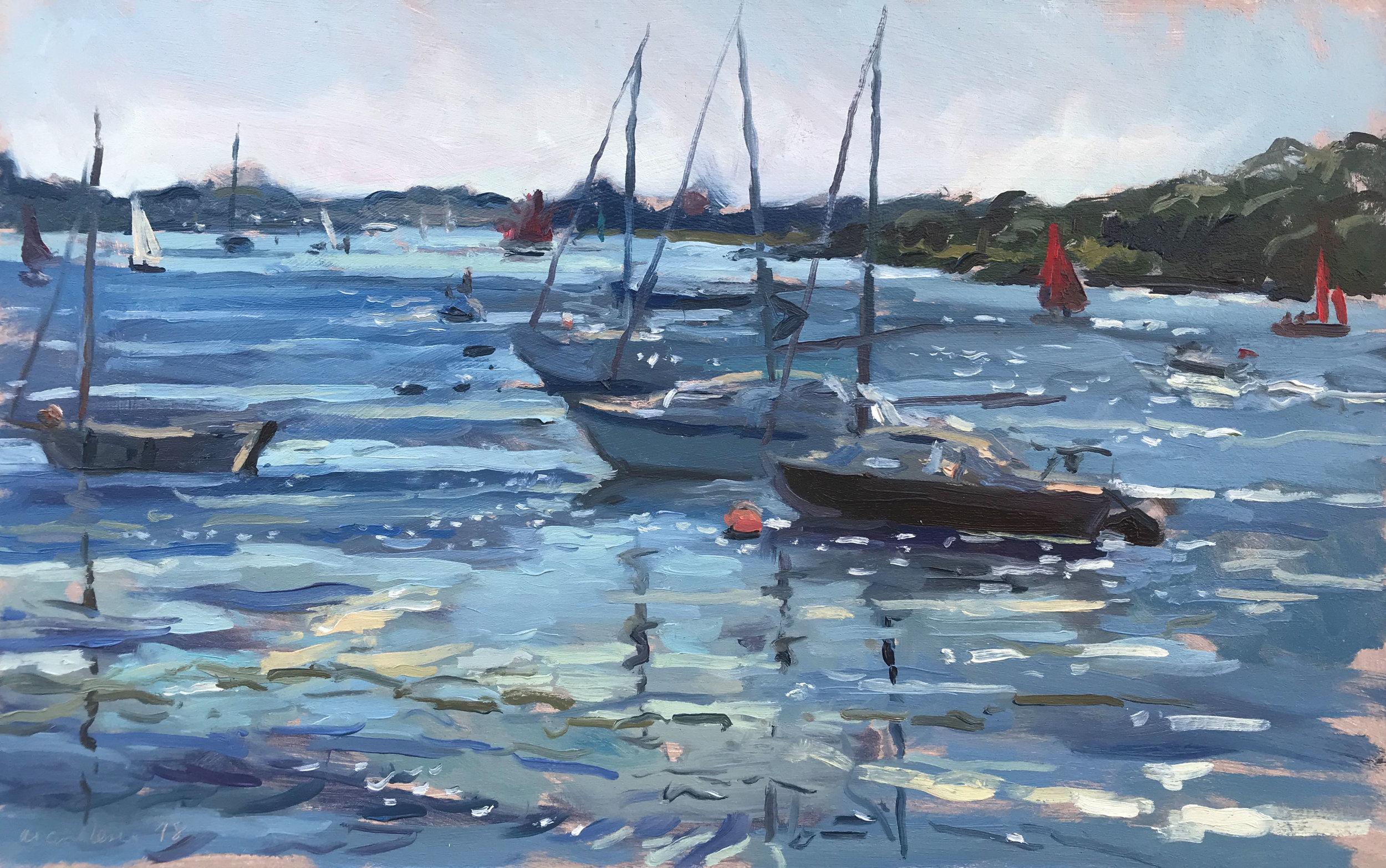 """'Red sails, Dell Quay' £695 10x16"""""""