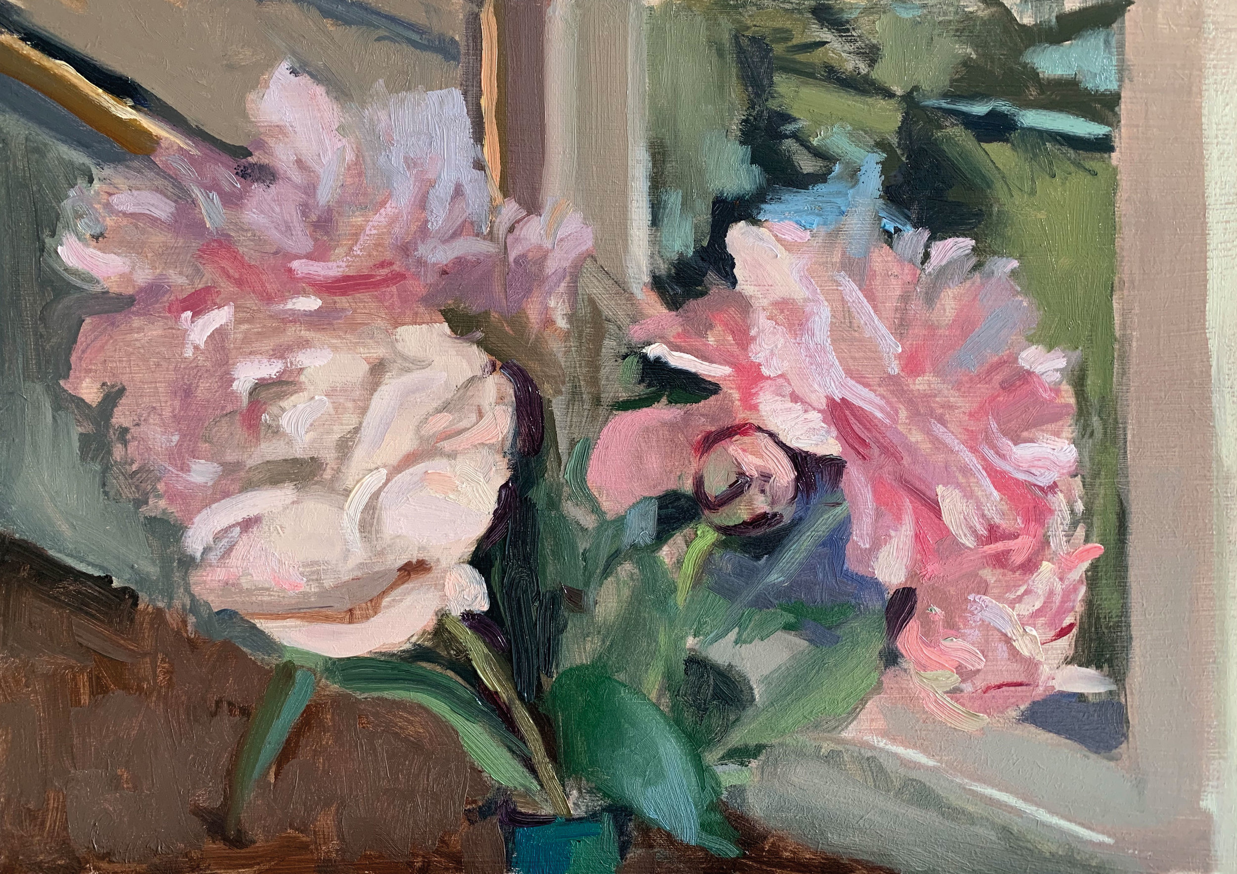 """PEONIES ON THE PLAN CHEST   2018 