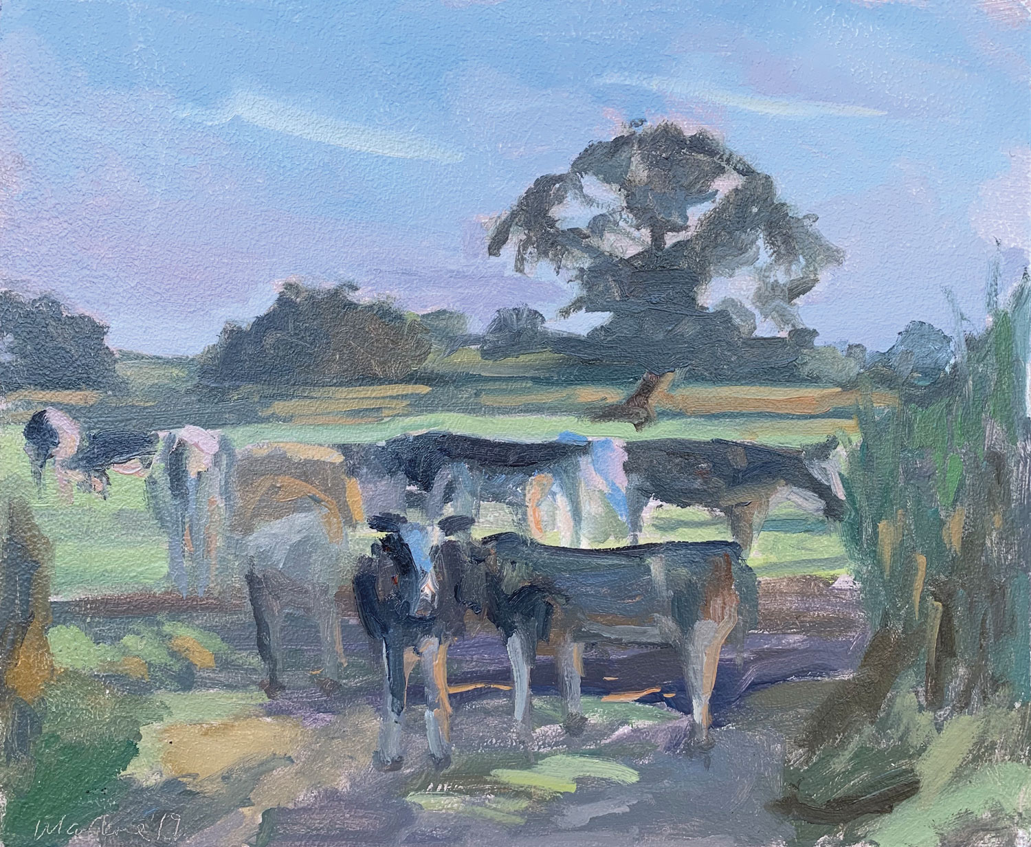 "DAUNTSEY COWS AT DUSK   2019 | oil on panel | 10X12""  £520"