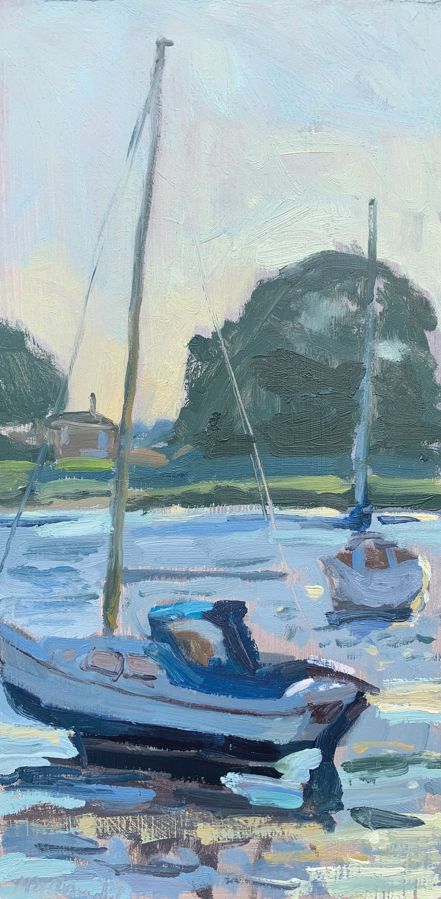 EVENING LOW TIDE, DELL QUAY   2019 | oil on panel | 30x15cm  £300 (unframed)