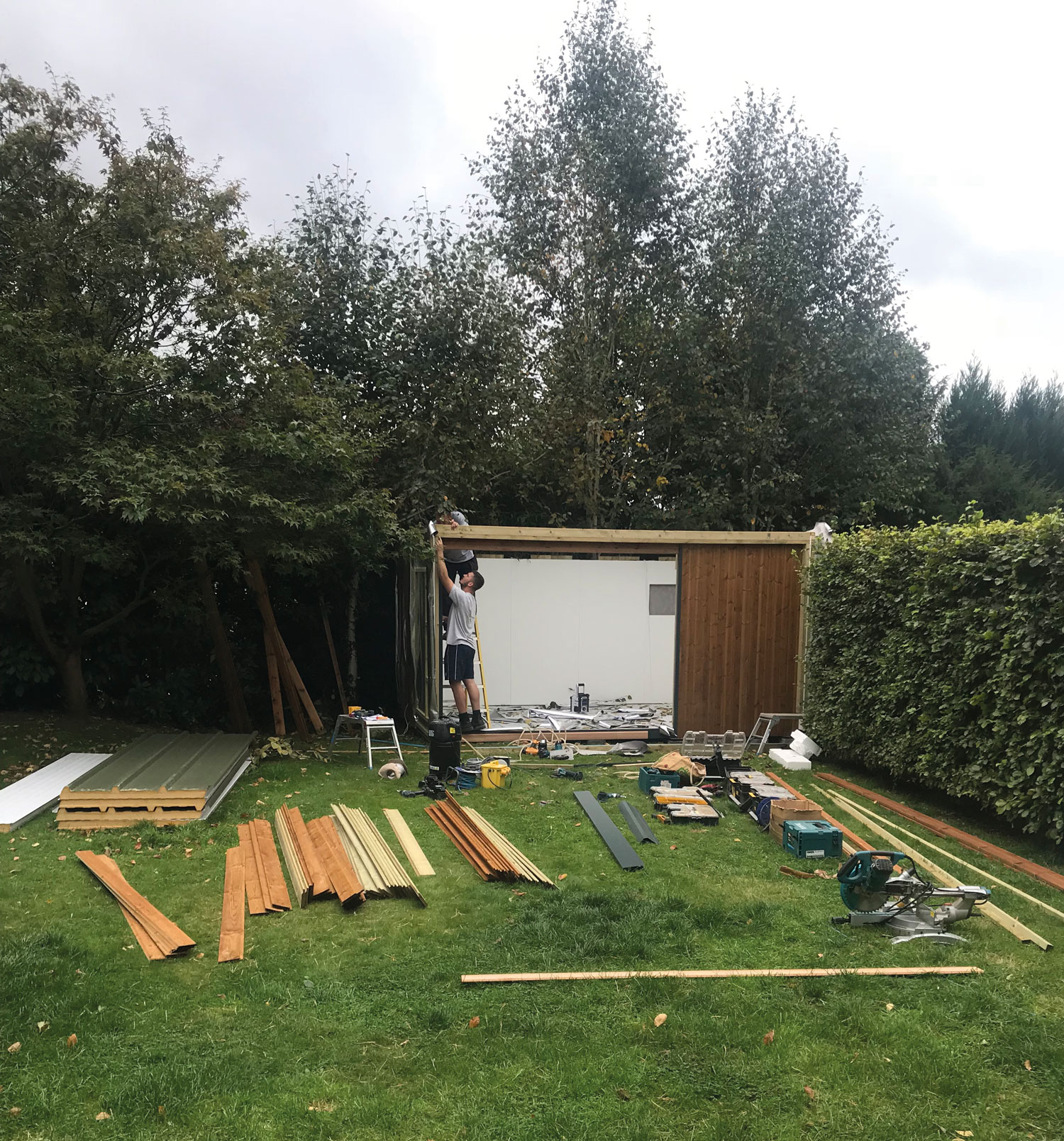 My garden studio as a work in progress last September. The company I used was Green Retreats and they were fantastic - I can highly recommend them.