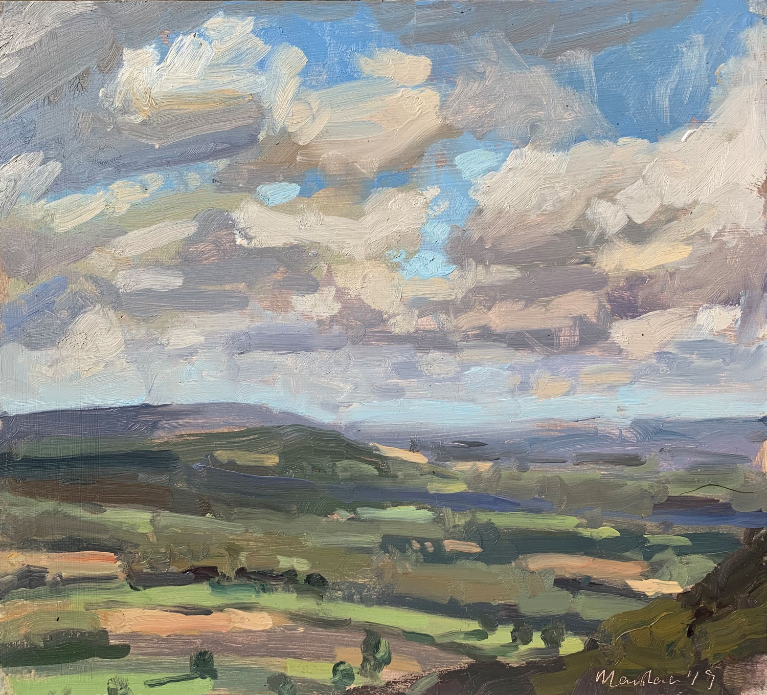 """LATE SEPTEMBER CLOUDS   2019   oil on panel   8x10""""  £425 (unframed)"""