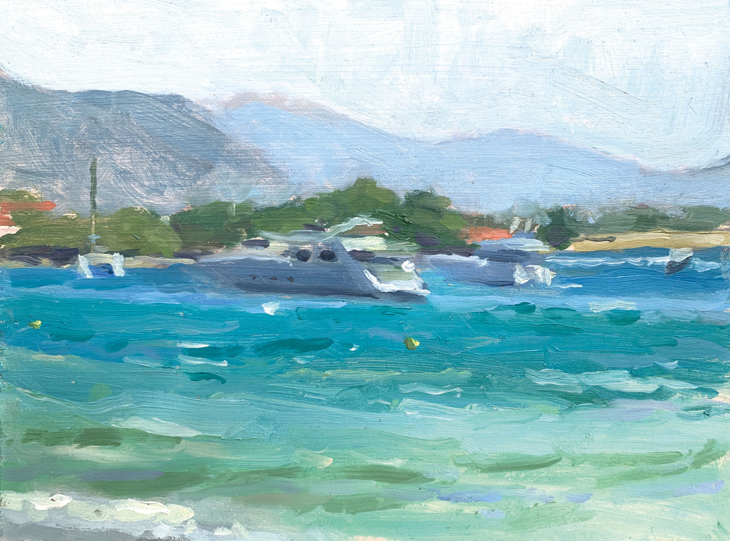 """YACHTS BEYOND THE HARBOUR   2019   oil on panel   8x6""""  £200 (unframed)"""