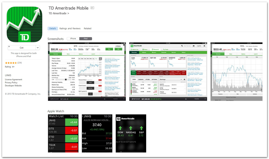 DESCRIPTION: On the go? TD Ameritrade Mobile lets you stay on top of your account wherever you are. Access the essentials, including equity and options trading, streaming quotes, real-time balances and positions, fund transfers, extensive news and research, and much more—all from your Apple device!