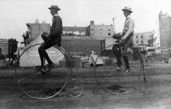 Out for a ride on a penny-farthing in the 1880s.    When the riding got serious, Delawareans were at the     first rank in the nation's bicycle racing.