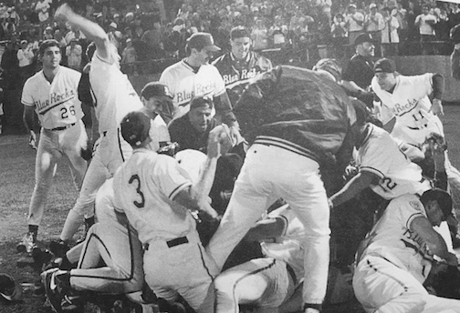 The Blue Rocks celebrate their 1994 Carolina League championship.