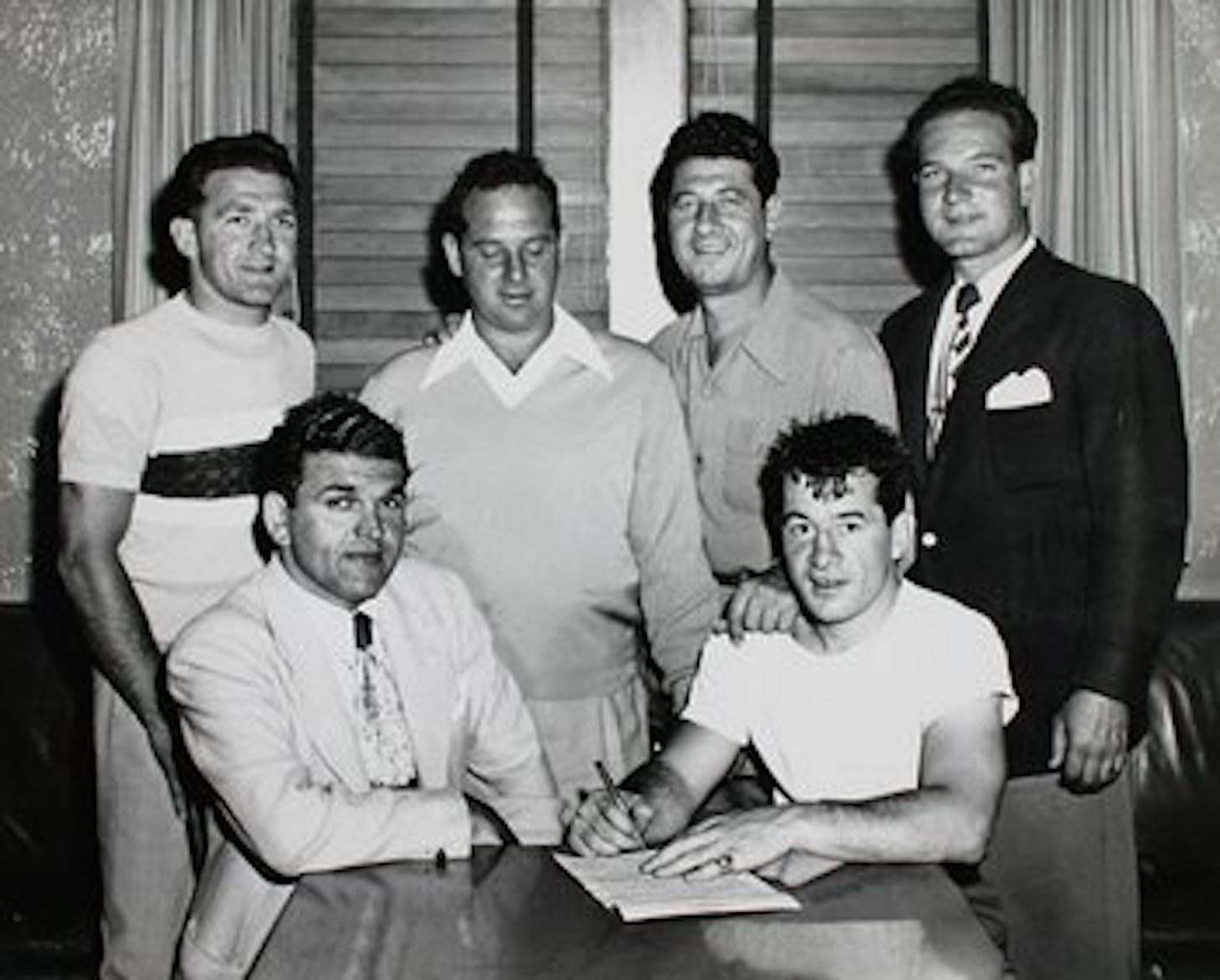 Ralph Tribuani with middleweight champion Rocky Graziano.  The Wilmington promoter helped restore Graziano's boxng career   after the boxer failed to report a bribe attempt.
