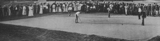 Early golf courses favored geometric shapes, like this rectangular sand green.