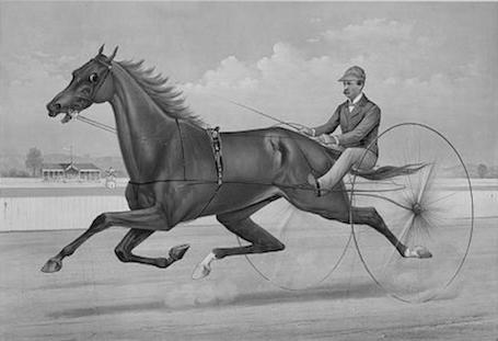 Record-setting driver John E. Turner guided many champions on   Delaware tracks. Here he is depicted   by Currier & Ives driving the   grand trotter Edwin Thorne.