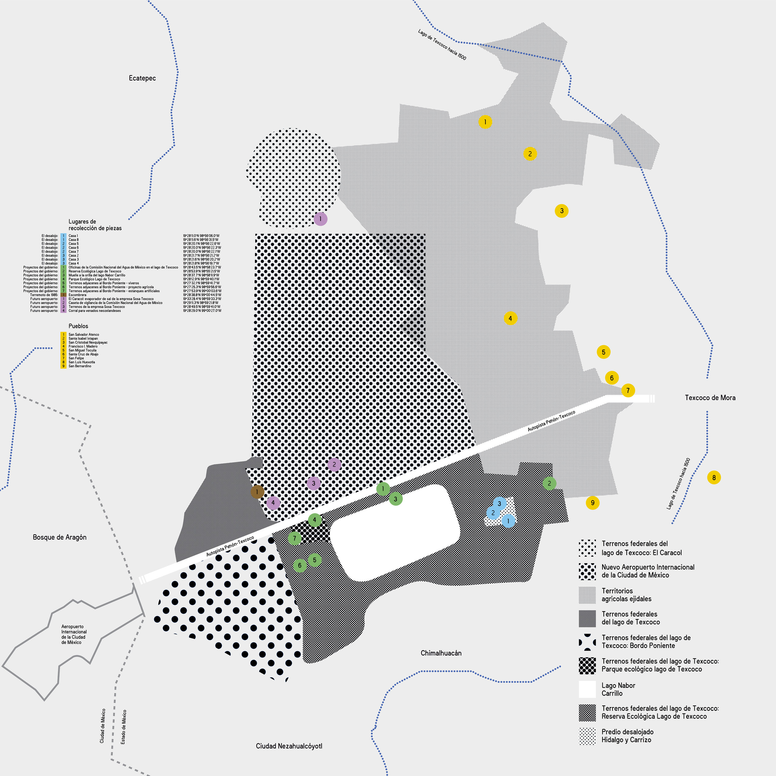 Animist Museum of Lake Texcoco's collecting sites, Texcoco basin territorial partitions, Mexico City New International Airport's construction site and its zone of influence circa 2018.  Designed by Laboratorio de Publicaciones (ENES, UNAM).
