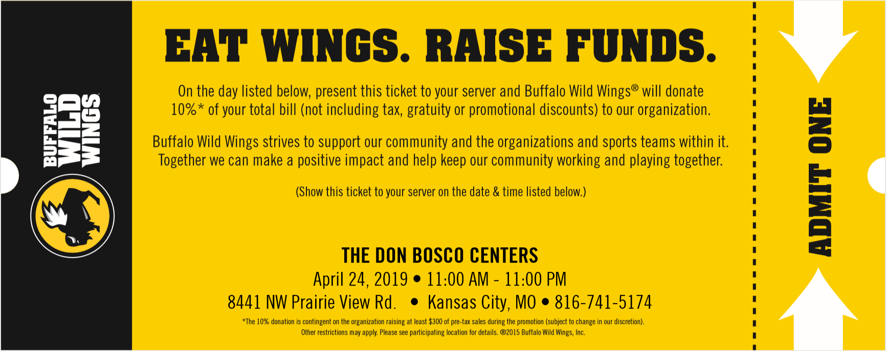 Show this ticket to your server when you order, and Don Bosco automatically gets 20%!