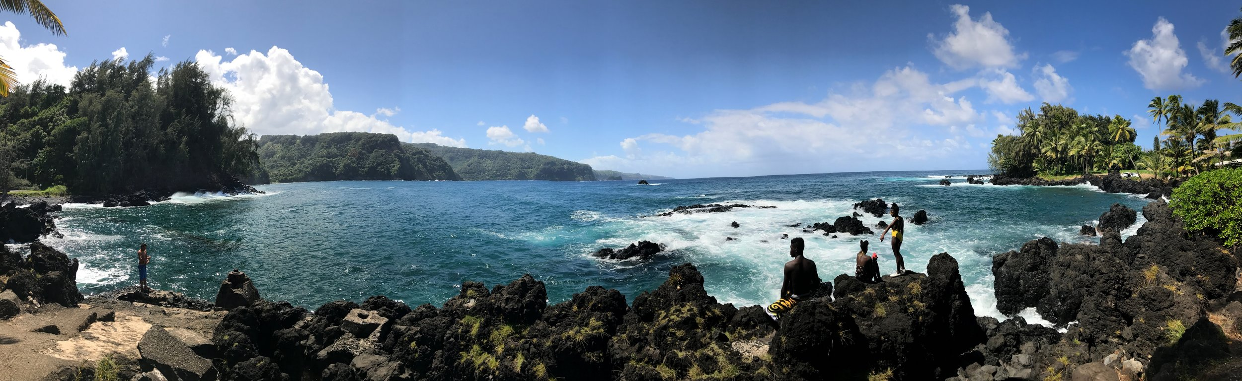 Panoramic photo of one of the Road to Hana stops