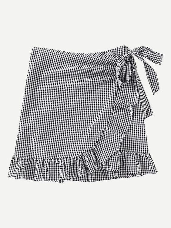 Gingham Ruffle Trim Overlap Skirt.jpg