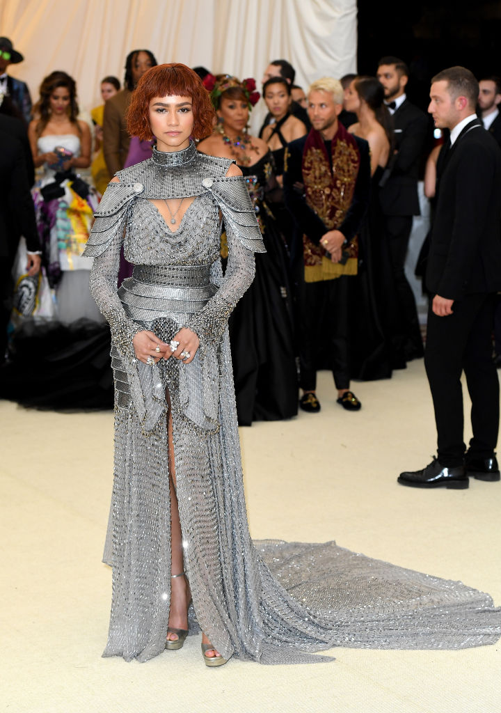 Zendaya channeled Joan of Arc for her look. While I can't stand the bangs, I understand they are necessary to match the theme. The entire look is a win for me!
