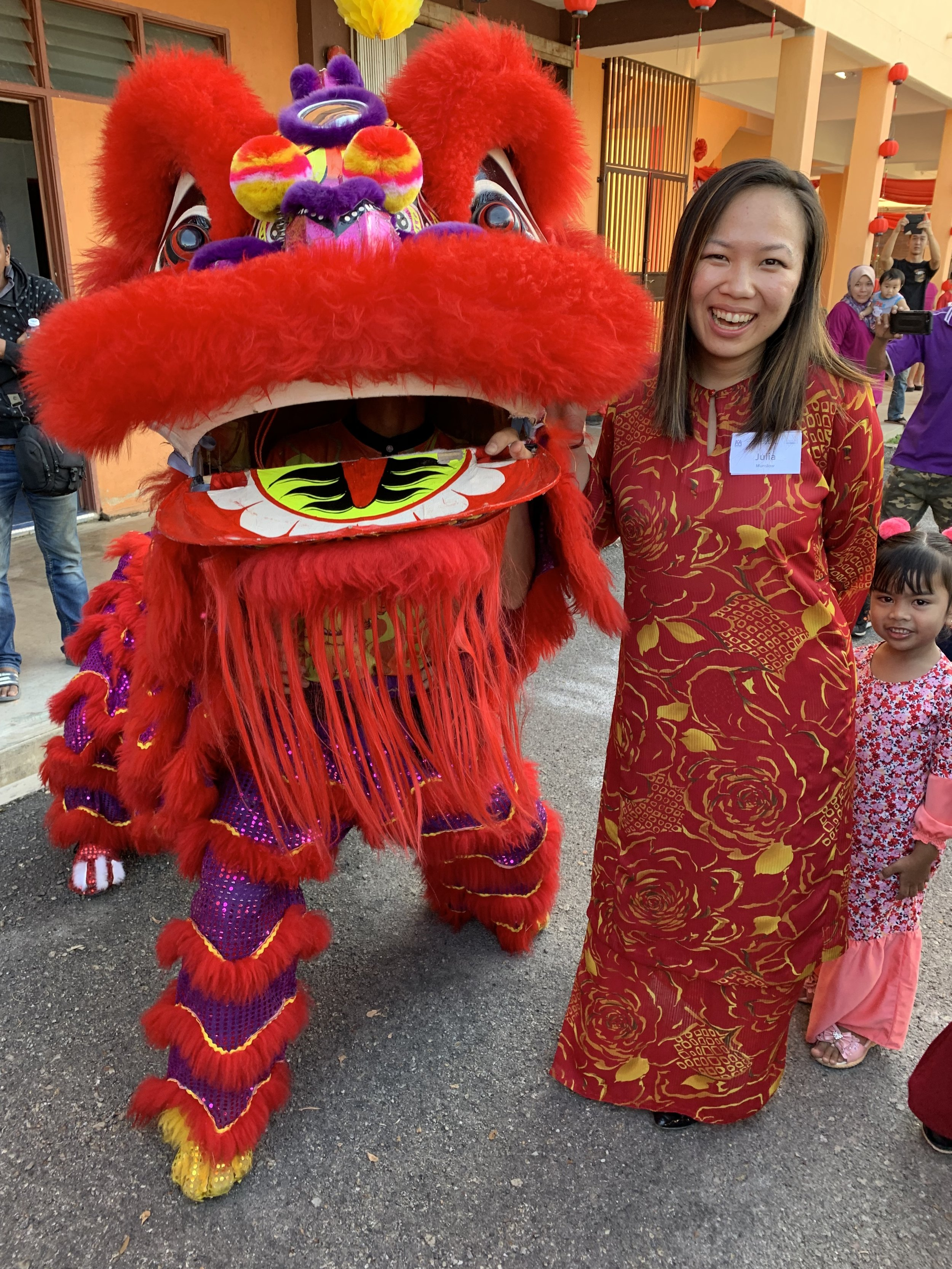One of the lions from the lion dance at a nearby Chinese primary school