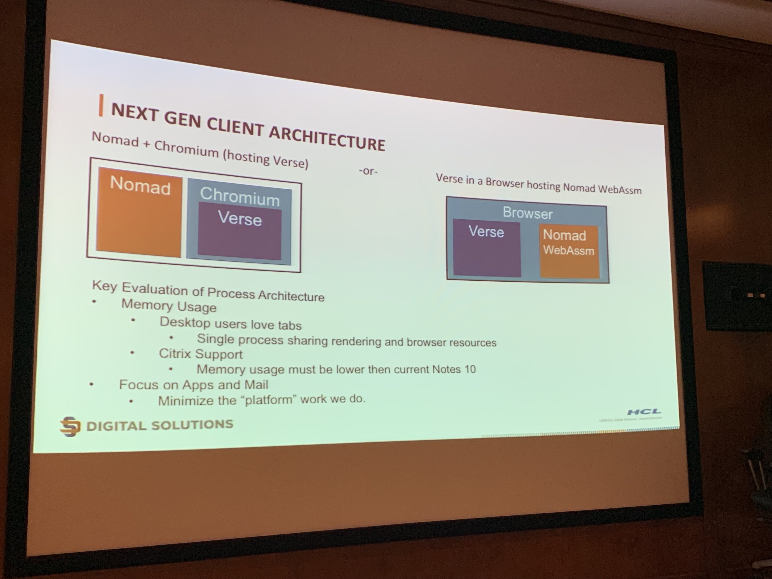 Andrews chart of the next gen client architecture alternatives.
