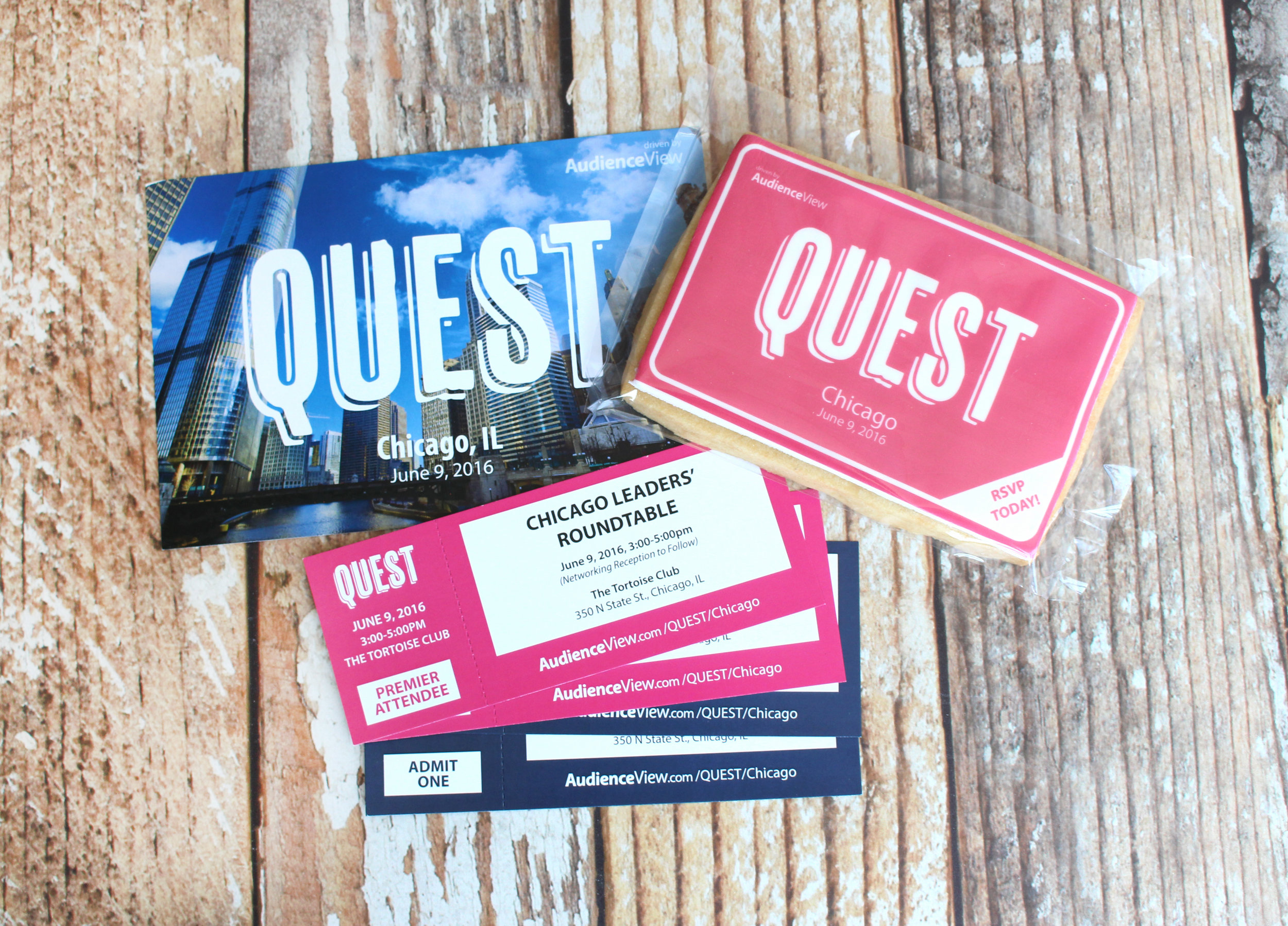 Quest Round Table Invitations - We worked with Audience View on a US-wide mail out to theatres across America, inviting professionals to their round-table events in surrounding cities. A postcard, tickets and our large cookie were included in every package.