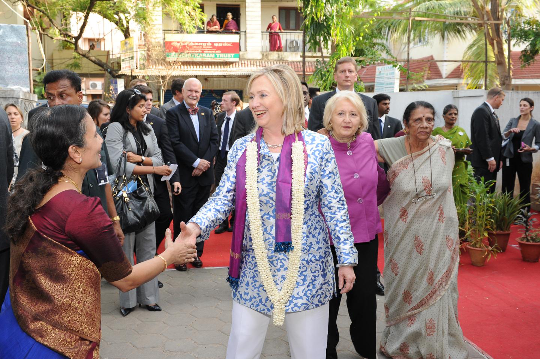 Secretary of State Hillary Clinton in Chennai, India