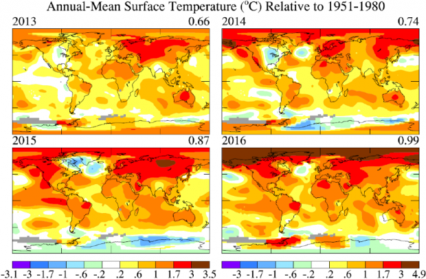 Fig. 3.  Temperature anomalies in the last four years.