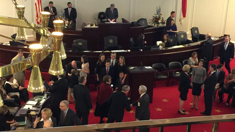 N.C. lawmakers greet one another on Wednesday in Raleigh, moments before the 2017 session started.