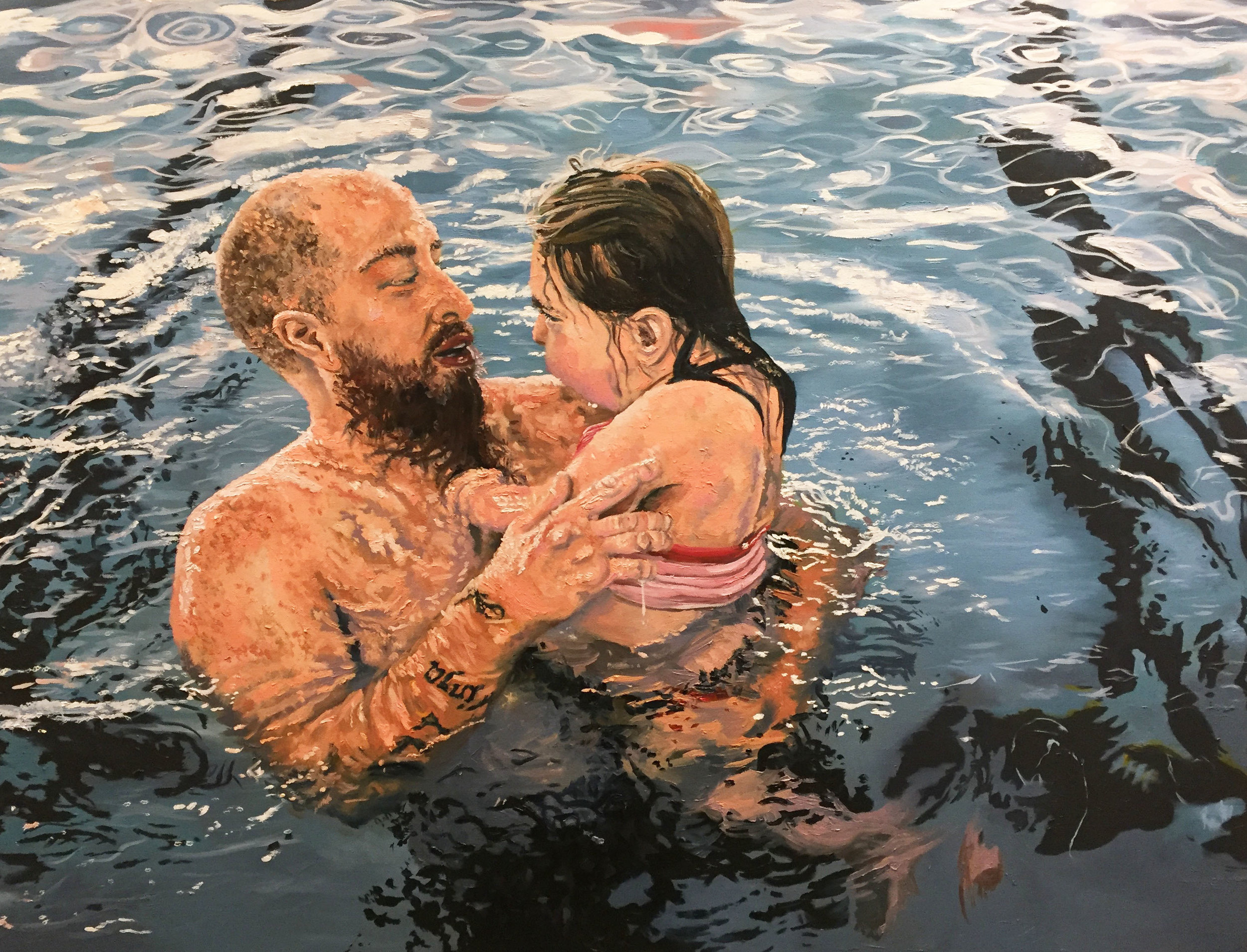 SWIMMING LESSONS, oil on canvas, 36' x 48 inches, 2016