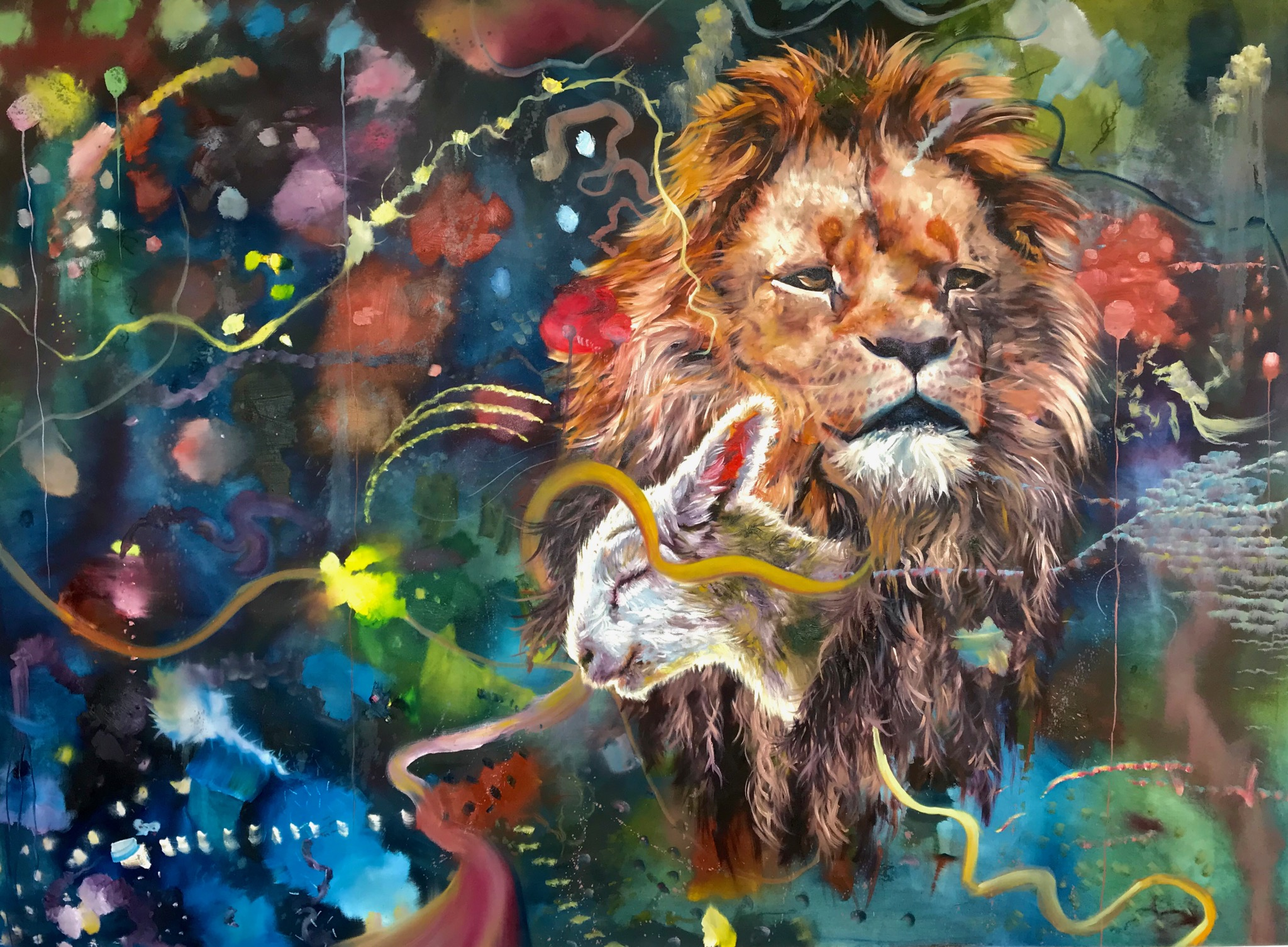 LION AND LAMB, oil on canvas, 72 x 96 inches, 2018
