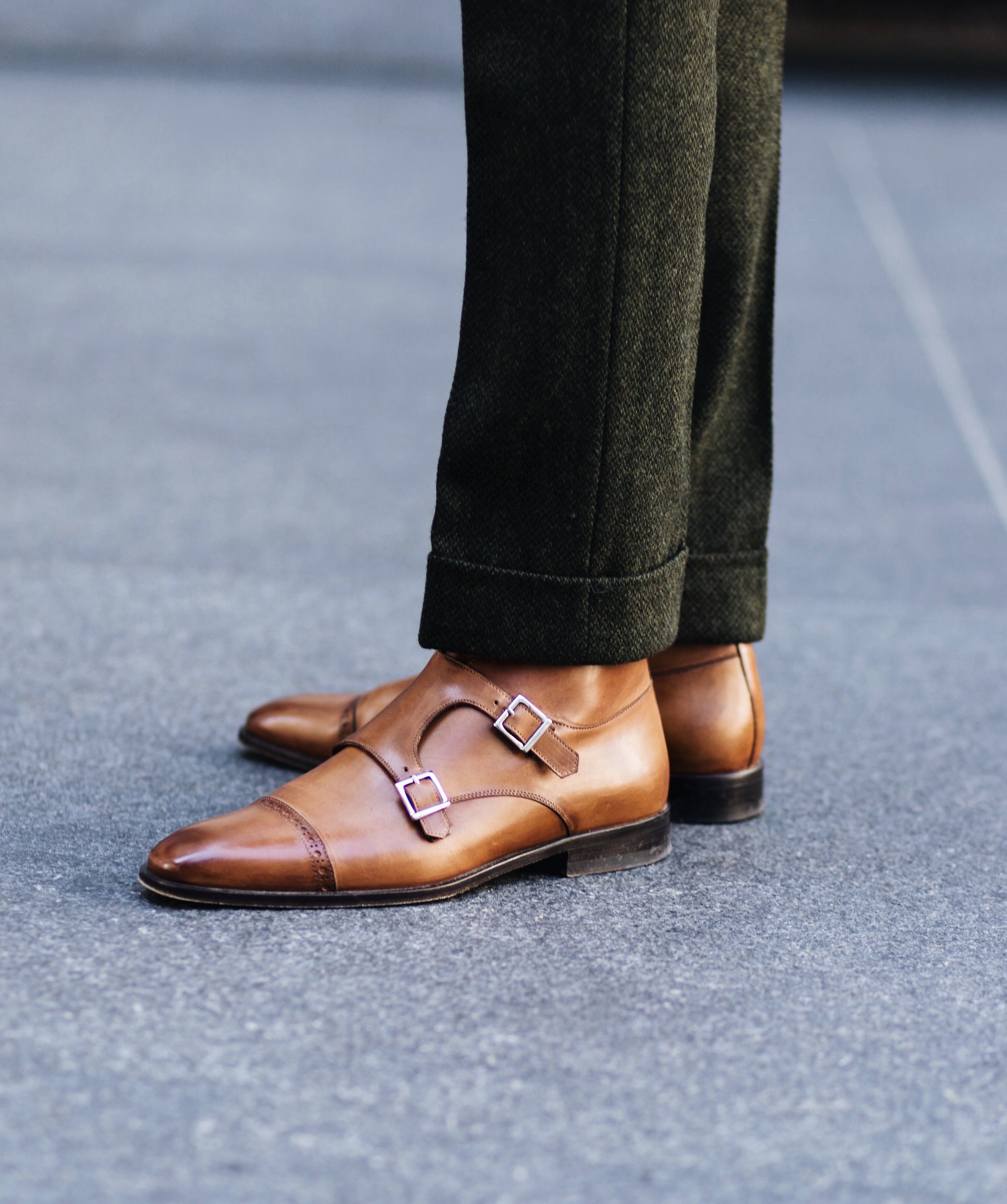 The Creative Gentleman wearing a pair of Heston double monk strap boots by Paul Evans NY and green tweed trousers from J. Crew. The Creative Gentleman styled the Heston Boot by Paul Evans NY as part of collaboration.