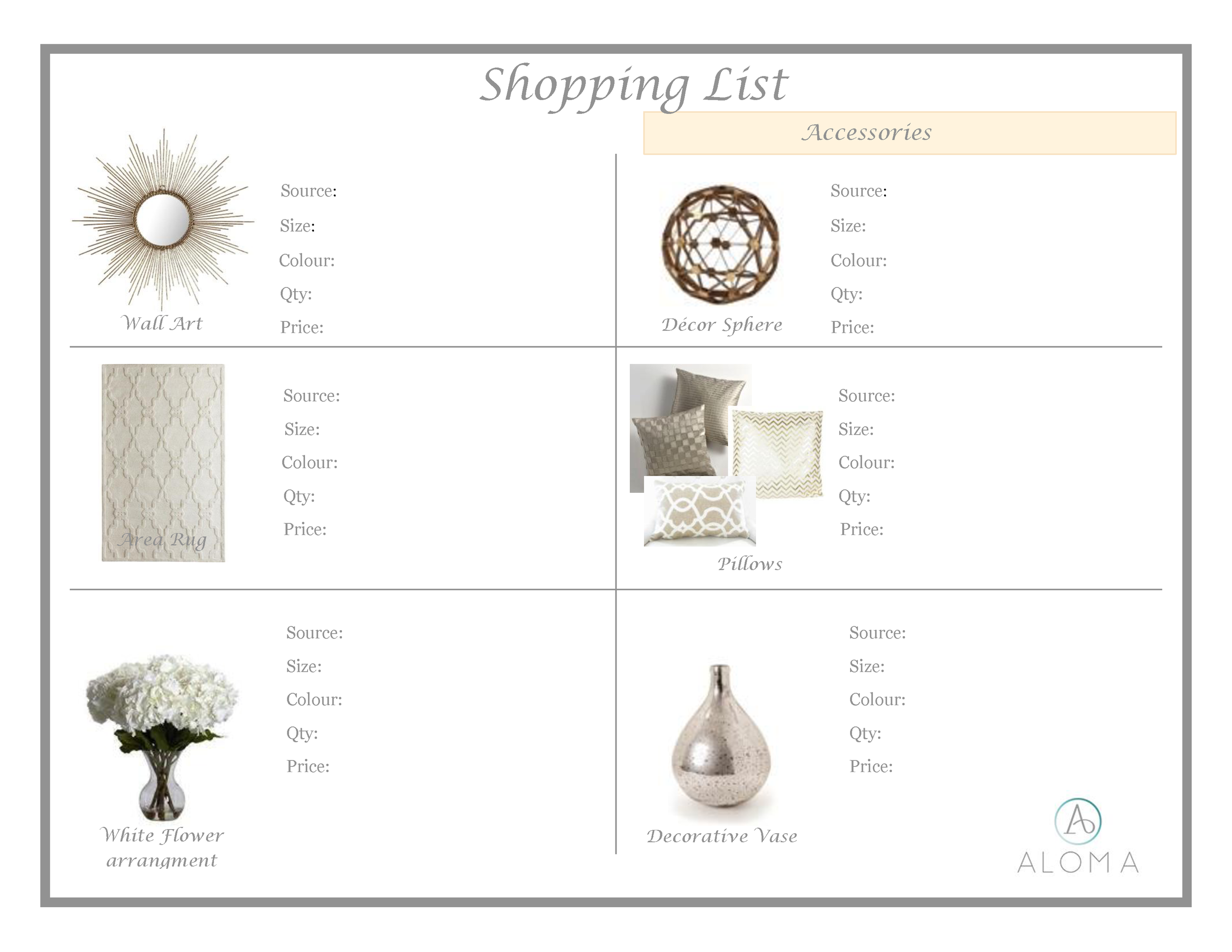 Shopping List by Aloma Home Staging & Design