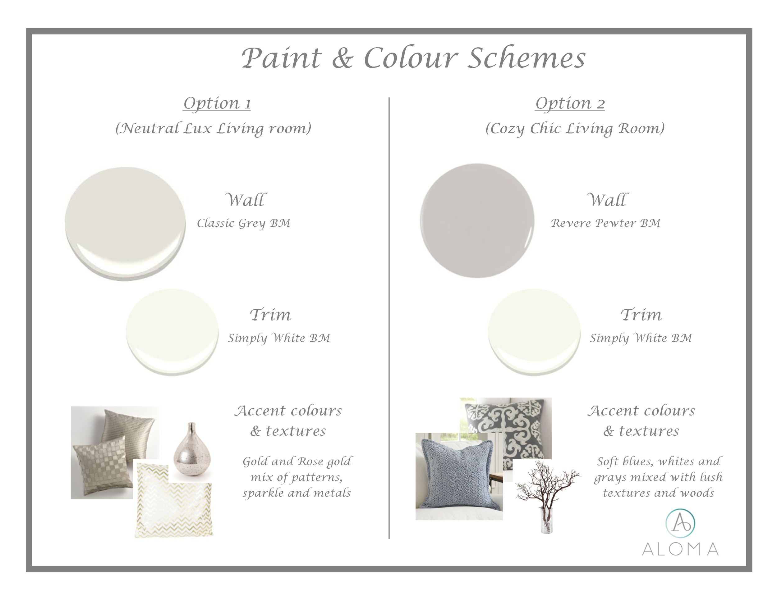 Paint & Colour Schemes by Aloma Home Staging & Design