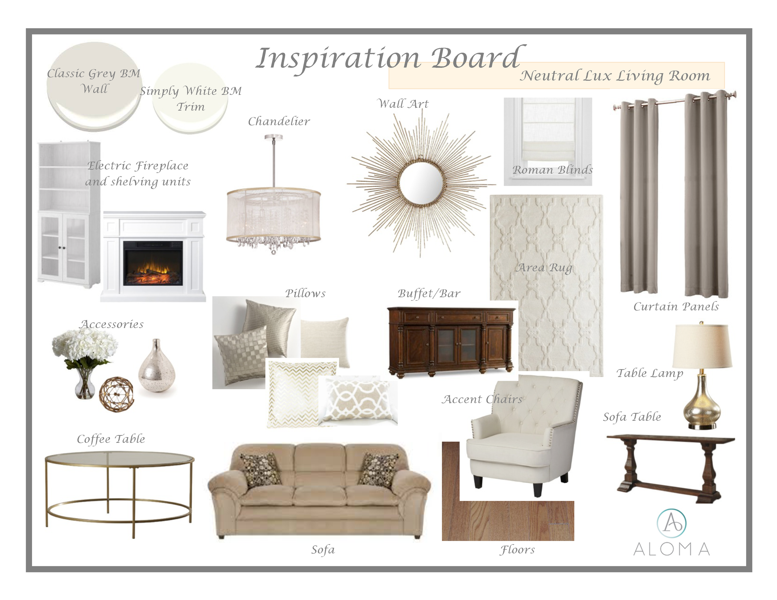 Neutral Lux Living Room Inspiration Board by Aloma Home Staging & Design