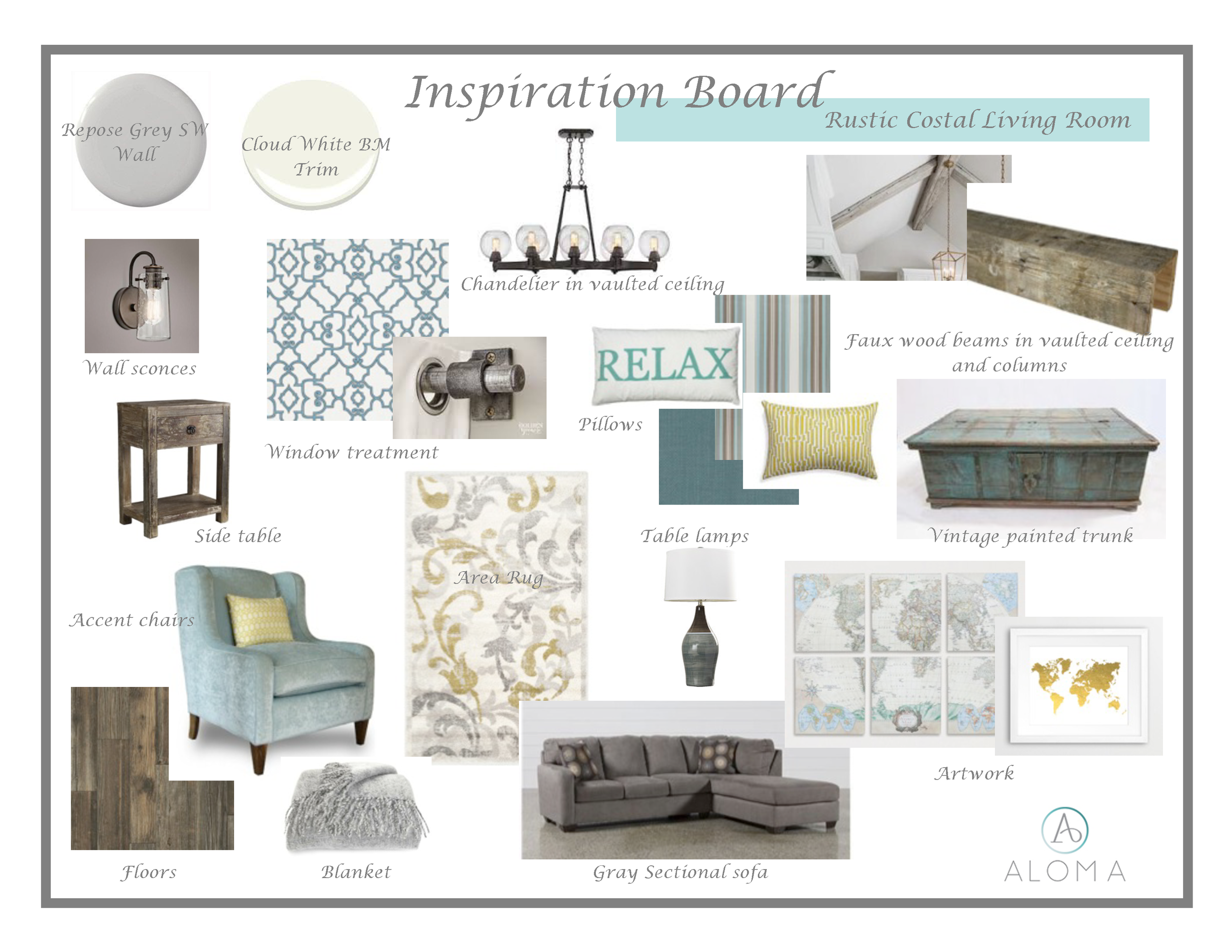 Rustic Costal Living Room Inspiration Board by Aloma Home Staging & Design