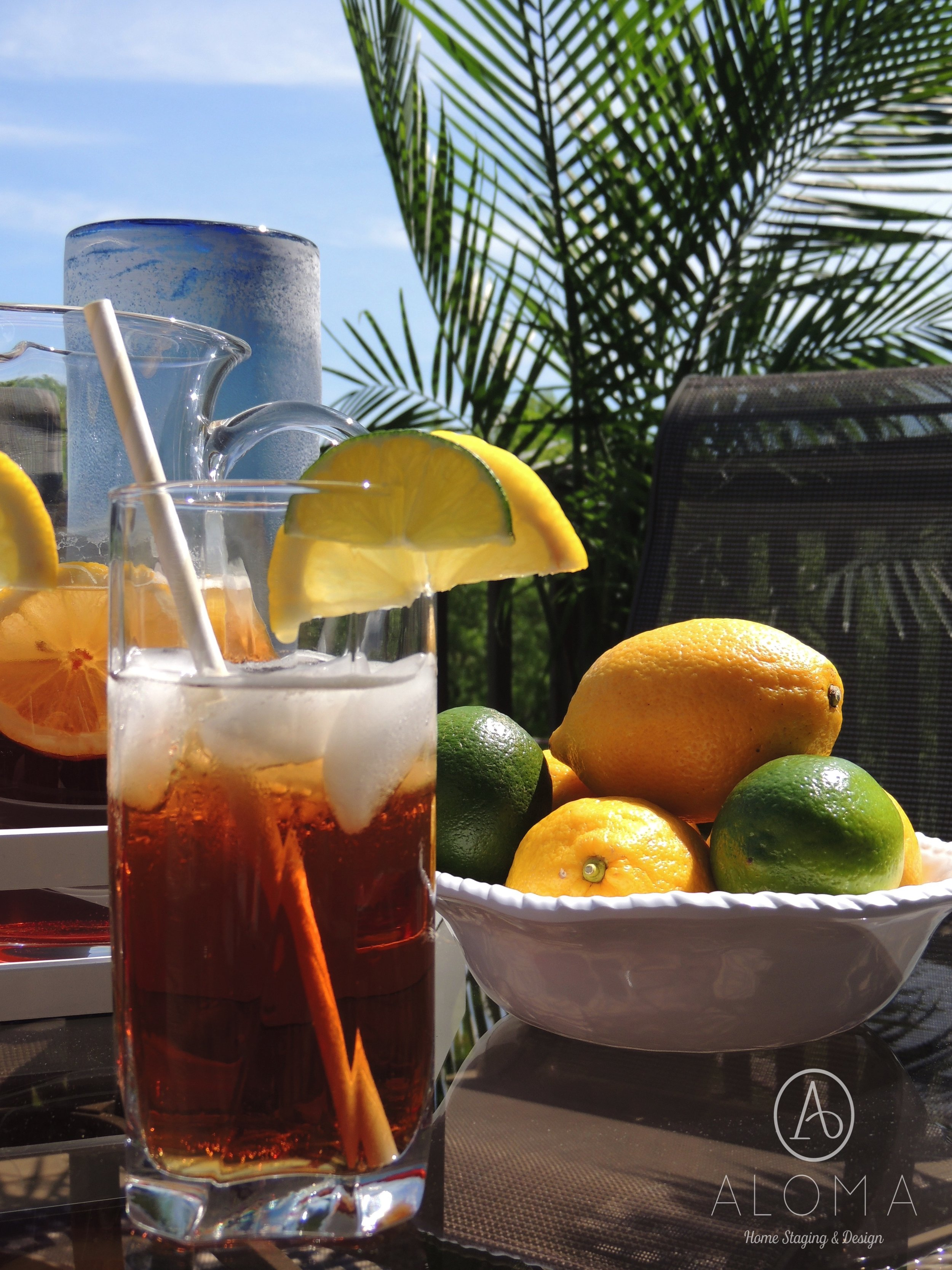 Iced tea with lemons & limes by ALOMA Home Staging & Design