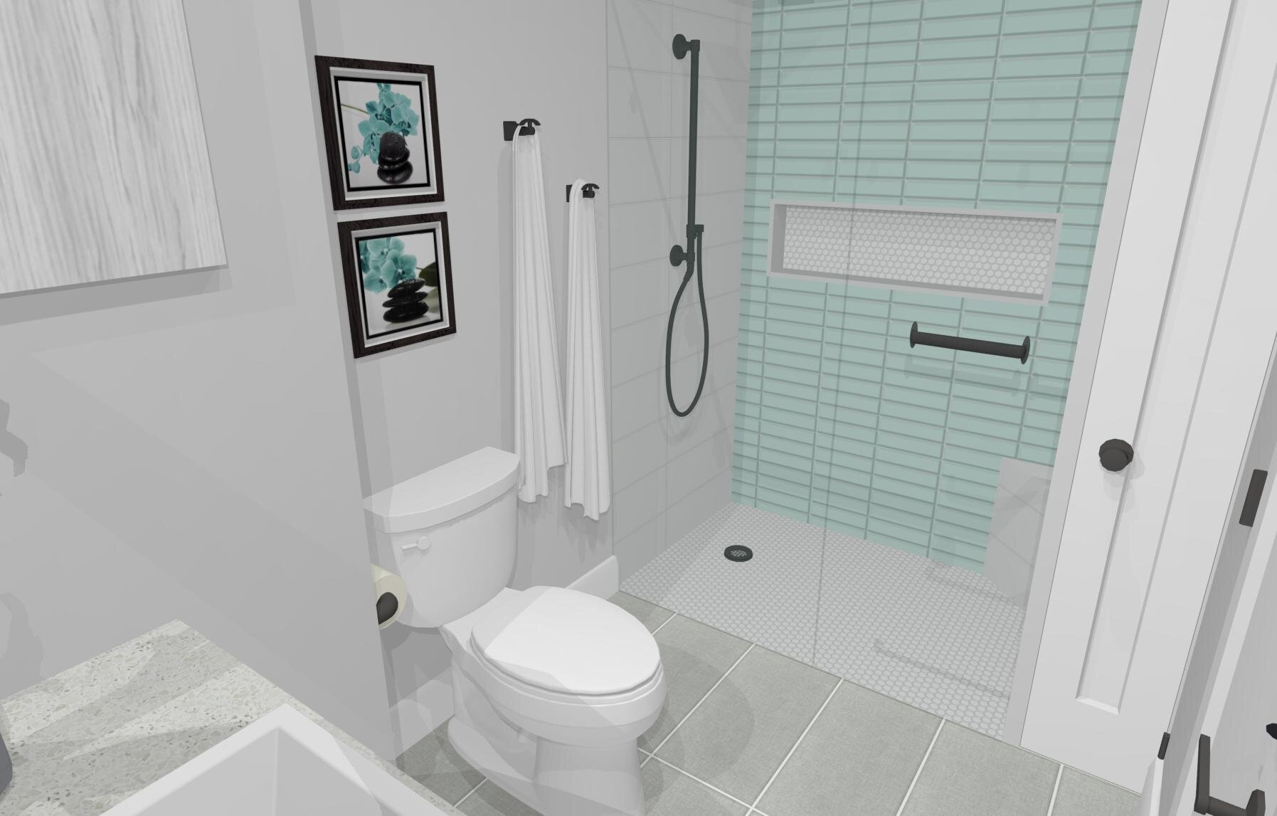 Château Downstairs Bathroom- By ALOMA Home Staging & Design