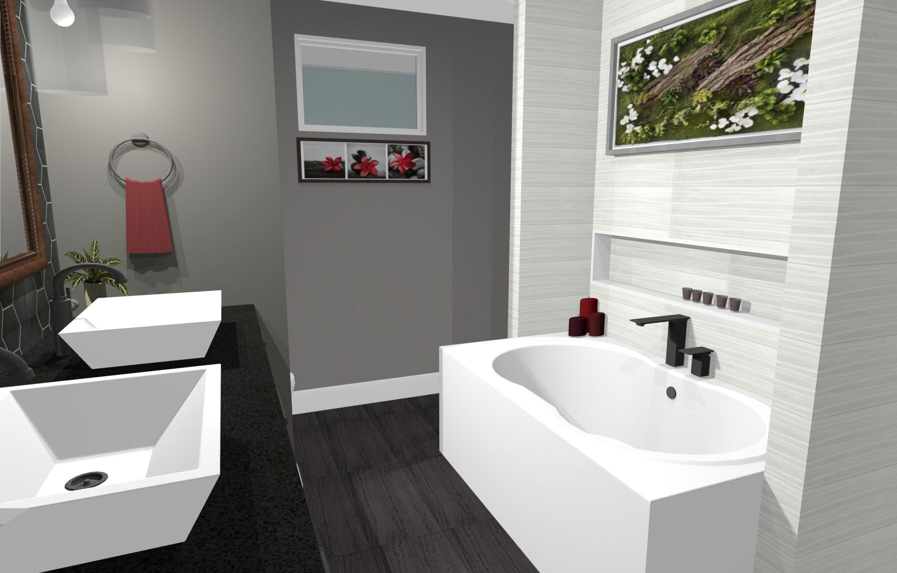 Château Upstairs Bathroom- By ALOMA Home Staging & Design
