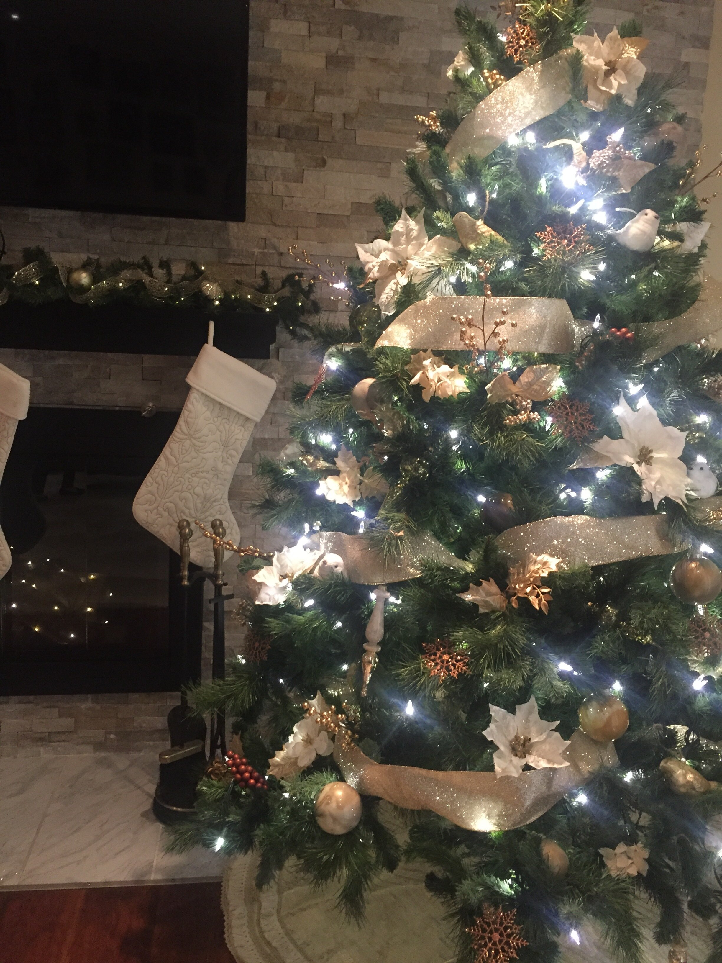 Gold & Cream Christmas Tree By ALOMA Home Staging & Design