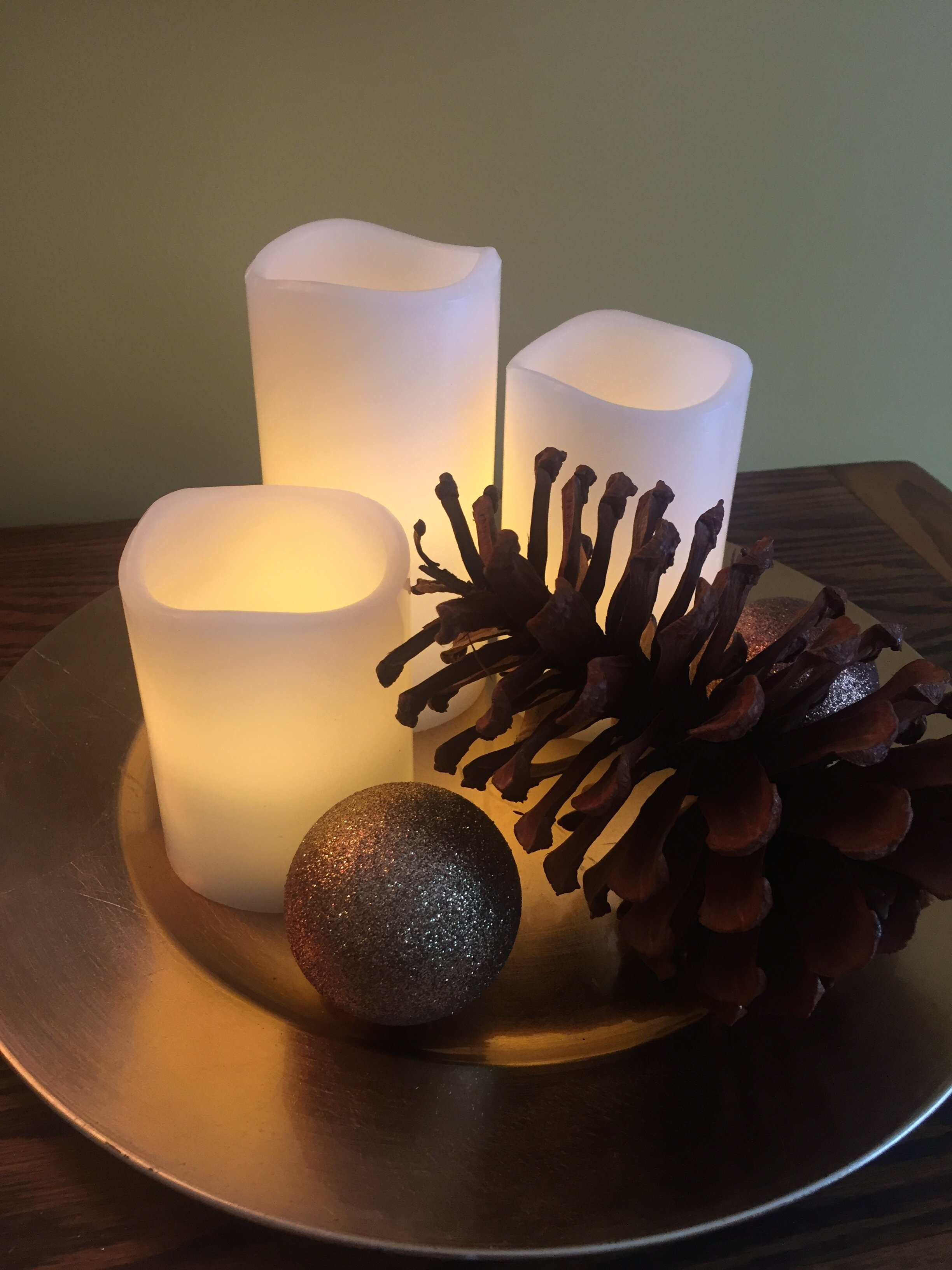 Candles & Pinecone Christmas Decor By ALOMA Home Staging & Design
