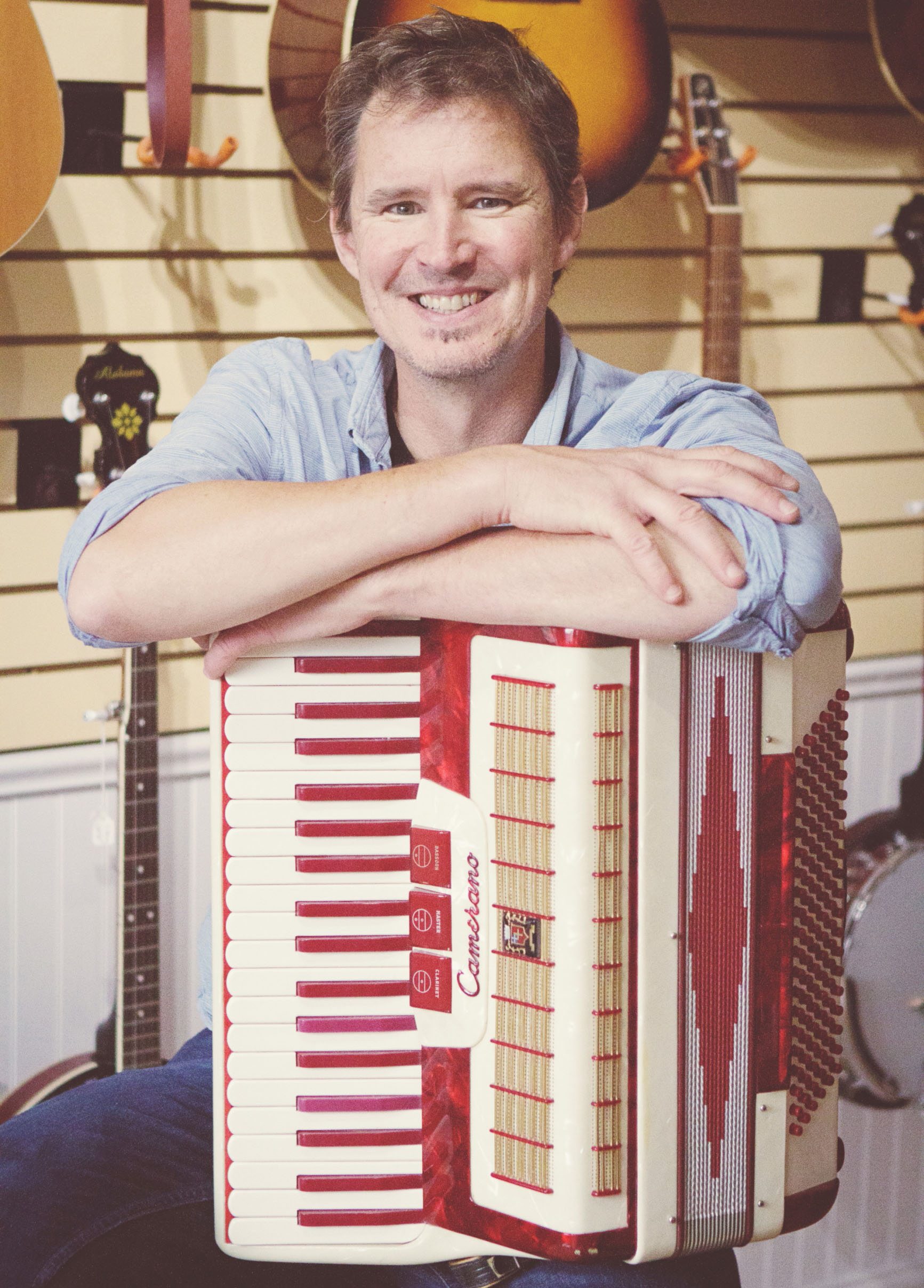 Paul Buchanan   Piano, Guitar, Bass, Mandolin, Accordion  Paul has played festivals and toured throughout North America. His album  Alfalfa Honey  topped the East Coast Countdown for four weeks, and his act Flat Fifth debuted at the ECMA main stage & garnered two nominations. He has accompanied songwriter Laura Smith, and performs in Eilidh and The Woolly Jumpers, The Flaming Jays, and Flat Fifth.