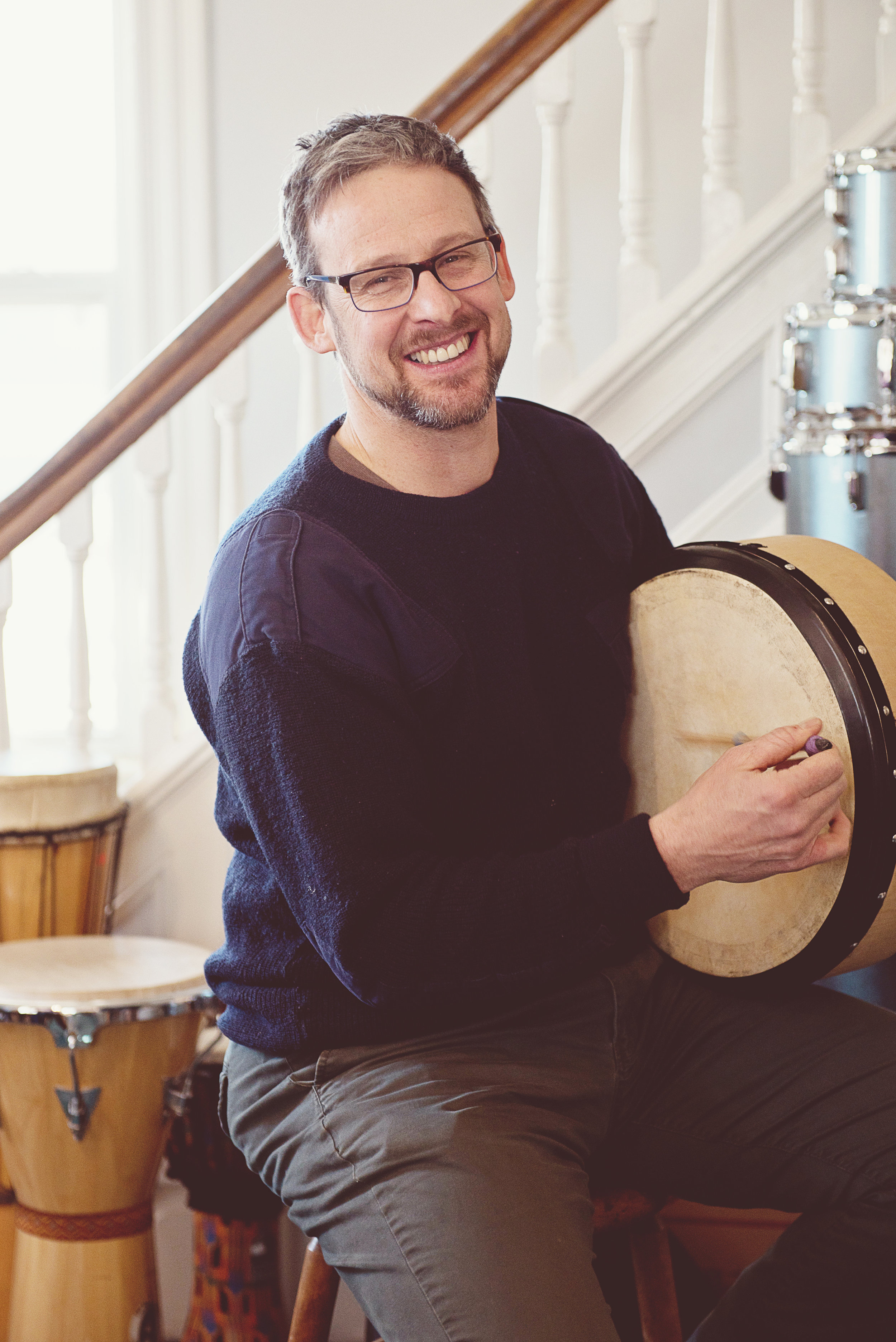 RJ Genge Bodhran  RJ has played bodhran since 1993, with a top-end style Limerick and double-end Kerry. He has performed in Newfoundland bands Banish Misfortune and Tickle Harbor, and Nova Scotia's Peelers Jacket and McMullen and St. Maurice, winning an ECMA for Roots Traditional Album of the Year for McMullen and St. Maurice's  Fingerboard Grooves  in 2001.