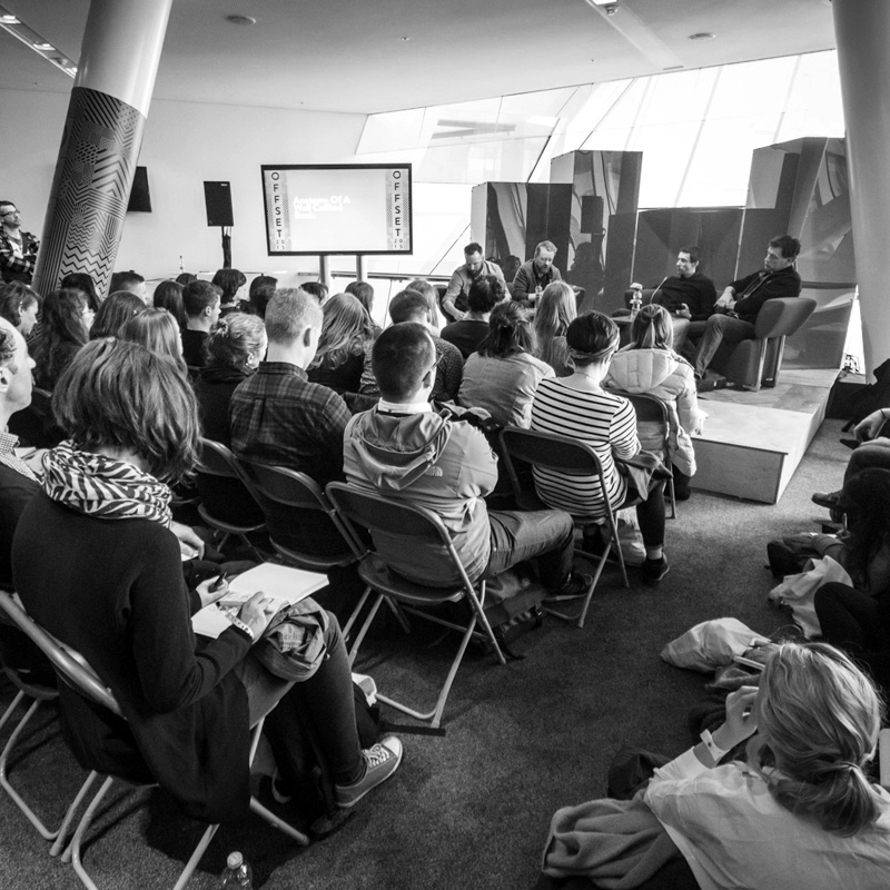 Offset 2015  panel discussion with panelists Peter Maybury, Marcel Meesters, David Smith. photographer unknown