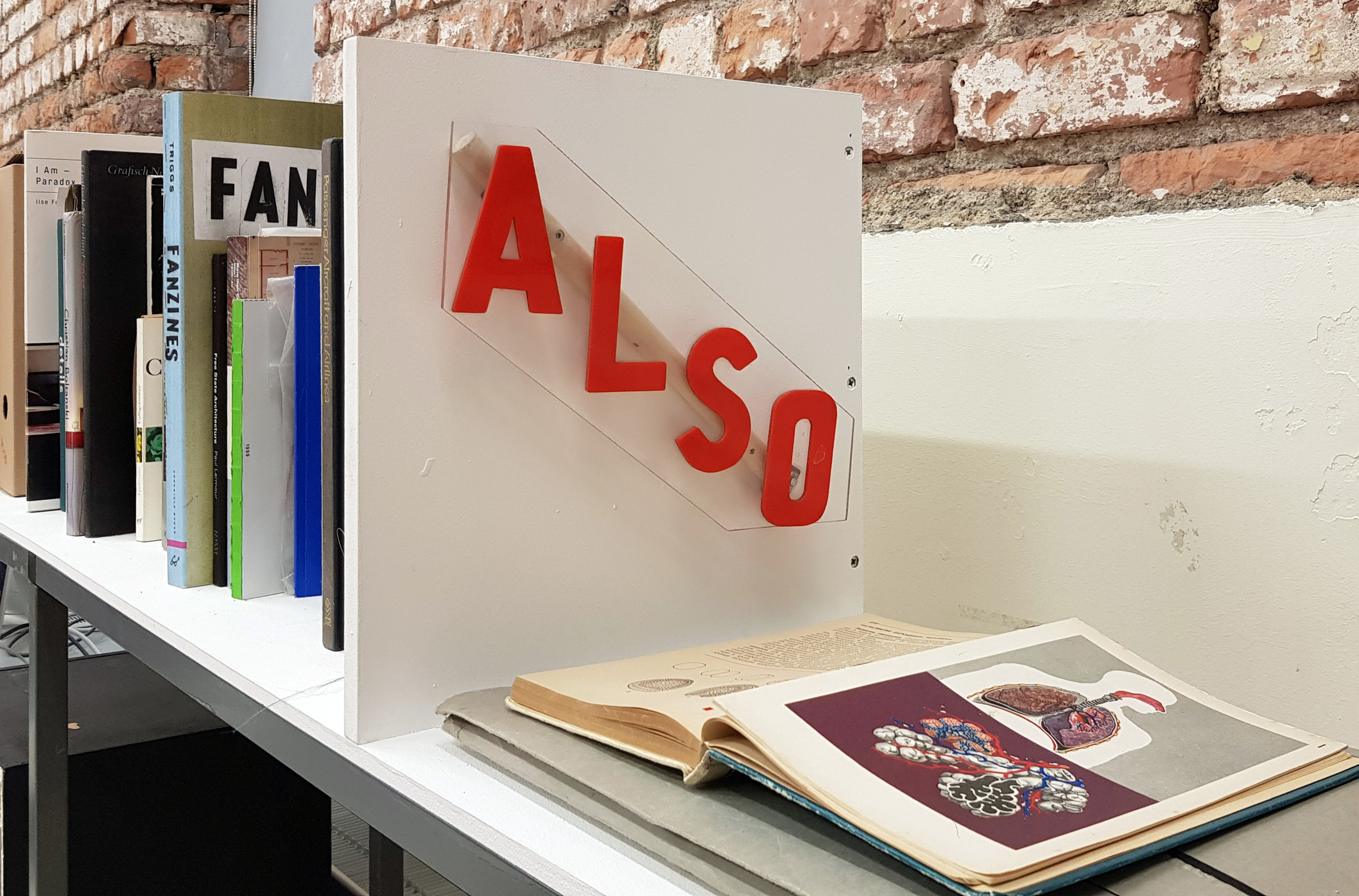 ALSO in-studio reference bookshelf. An eclectic, expanding collection of books and printed ephemera.