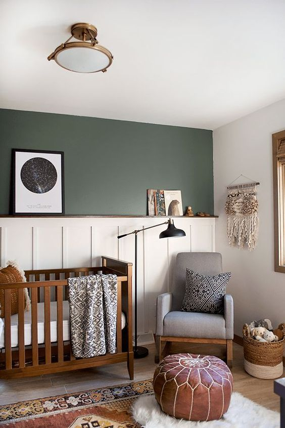 This green is soft, neutral and reminiscent of nature, making  this baby's nursery  one that he or she won't outgrow too soon.
