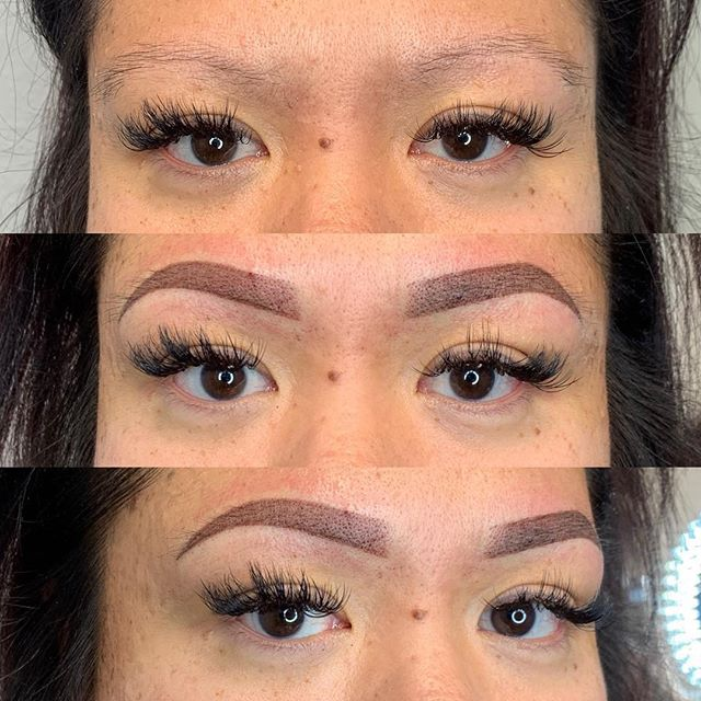 New brows for a mom and daughter 👯‍♀️ . . . . . . . . #permanentmakeup #microblading #ombrebrows #combobrows #microshading #makeup #permablend #bayarea #fremont #sanjose #browsworldwide #archaddicts #brows