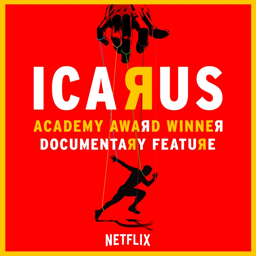 Icarus   Documentary - SO GOOD. Bryan Fogel explores the doping epidemic in the cycling world and ends up uncovering a much larger scandal involving the Russian government, a historic whistleblower, and the Olympics. This one will have you at the edge of your seat as this mild mannered filmmaker navigates his way through a complicated conspiracy of international scale. It deservedly won an Oscar for Best Documentary Feature.