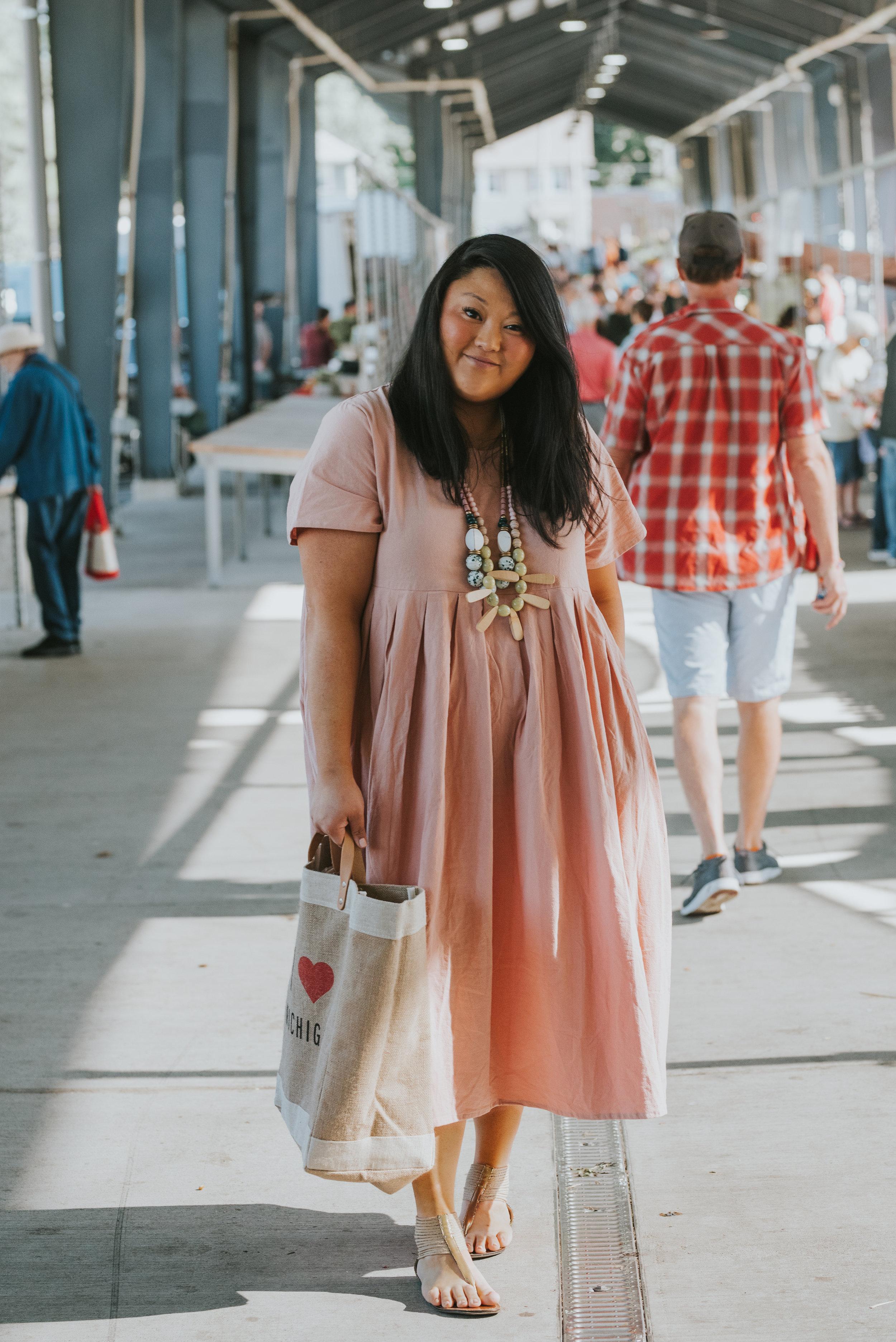 Pink linen maxi dress