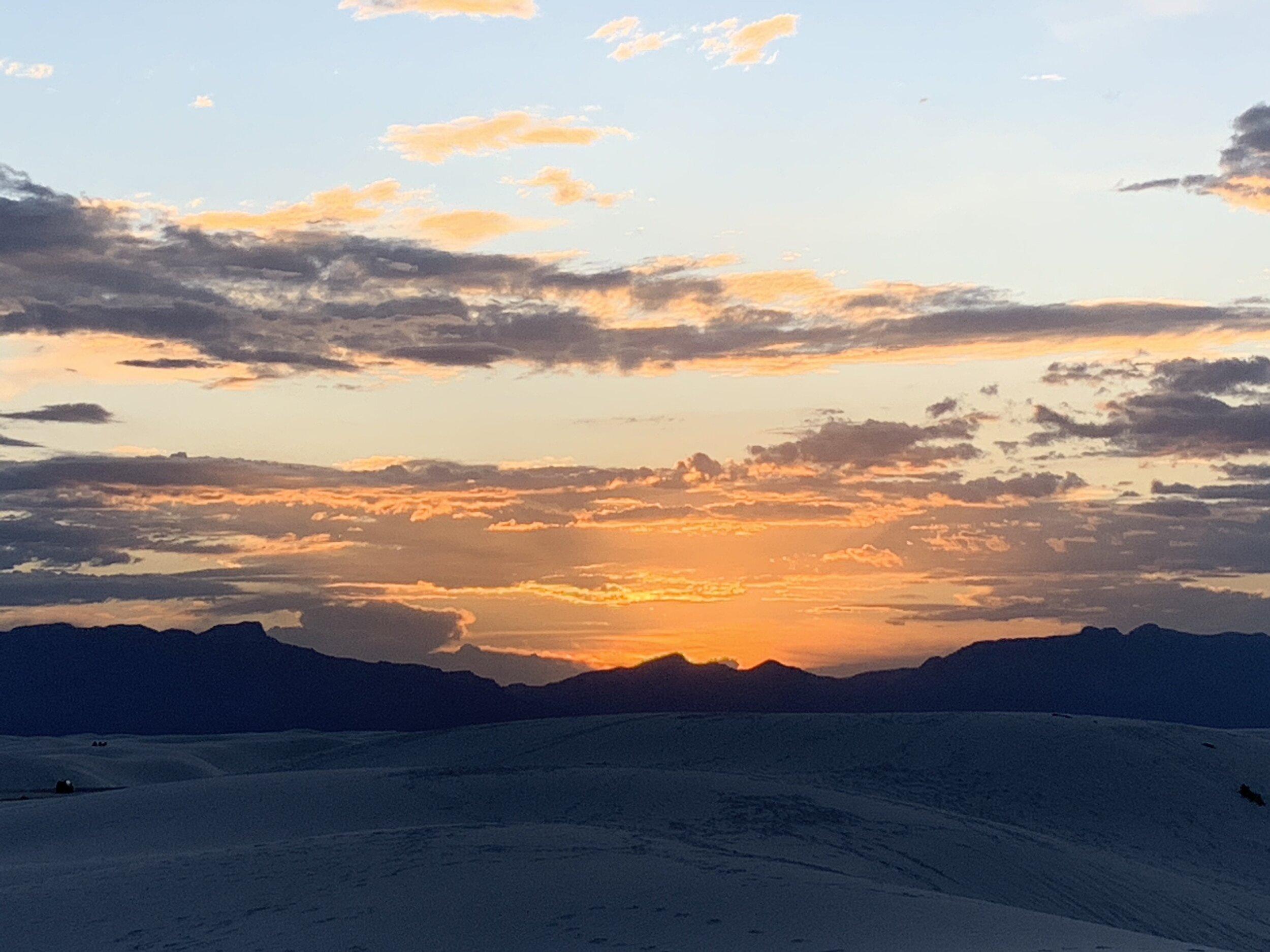 White Sands National Monument at Sunset.