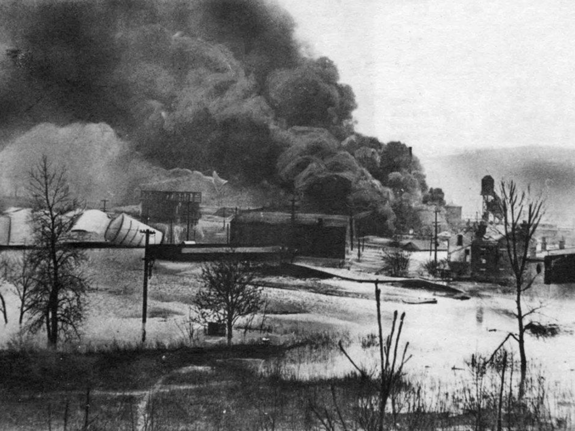 """""""Black Sunday"""" Gas tanks ruptured near Mill Creek that took firefighters over 12 hours to put out. Photo provided by Phil Lind"""